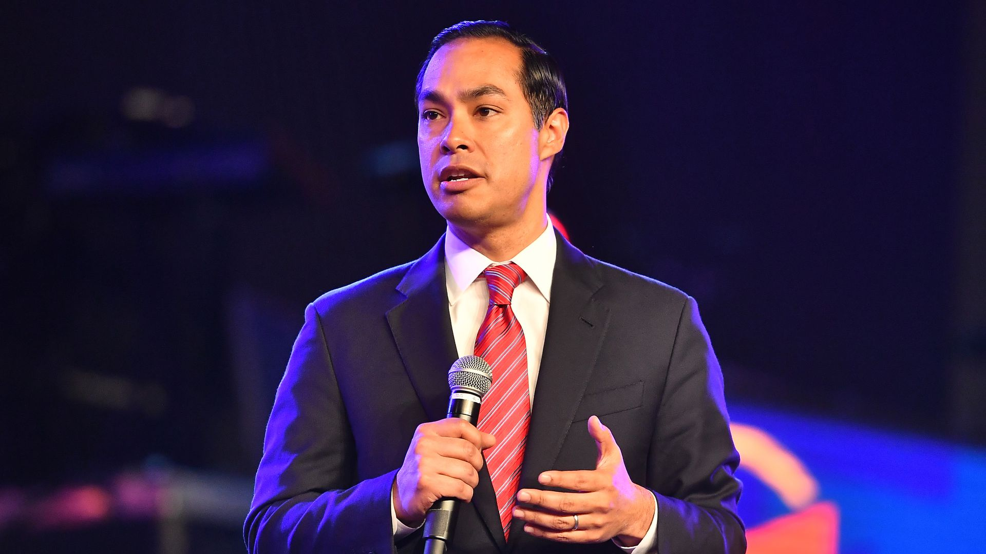 Democratic presidential candidate Julian Castro speaks on stage during Young Leaders Conference 2019