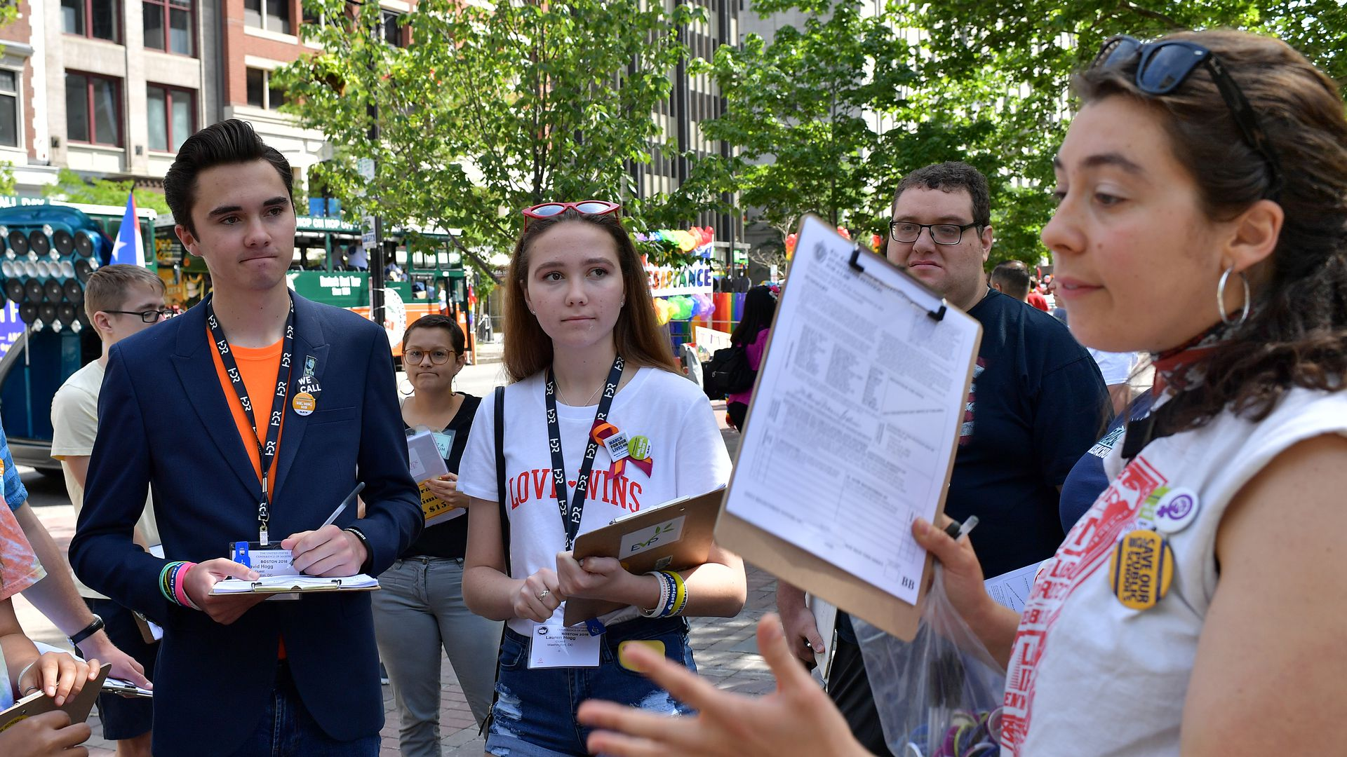 Activists getting signatures for a ballot initiative in Boston