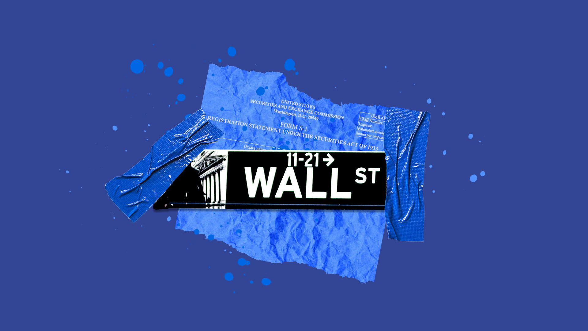 Collage illustration of the Wall Street street sign and IPO filing papers.