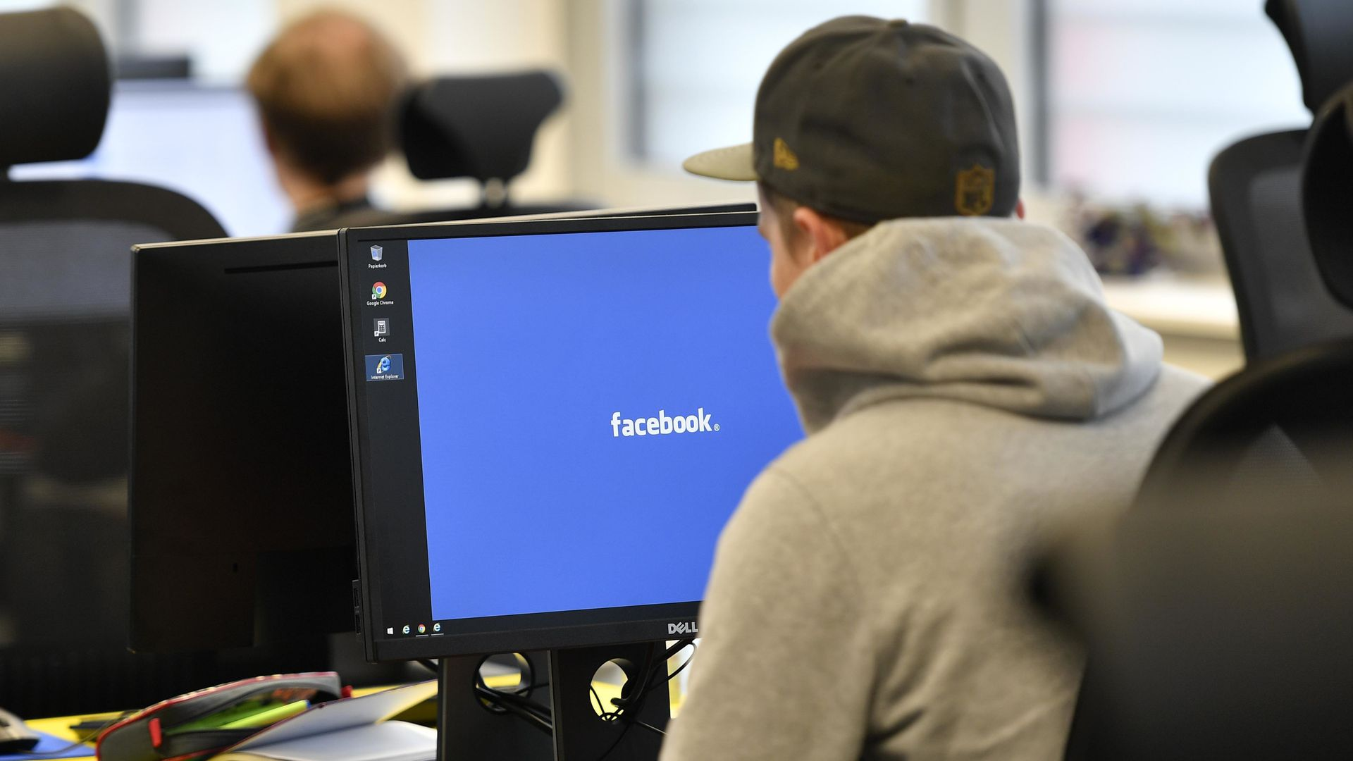 Employees of the Competence Call Center (CCC) work for the Facebook Community Operations Team in Essen, Germany.