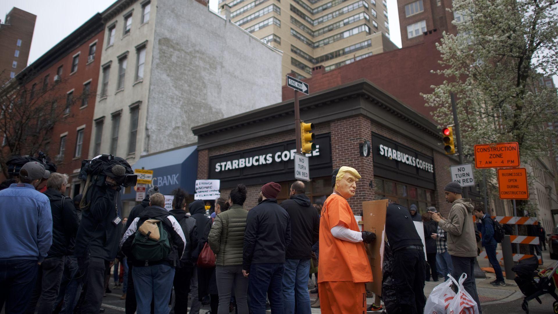 Protestors outside of Starbucks