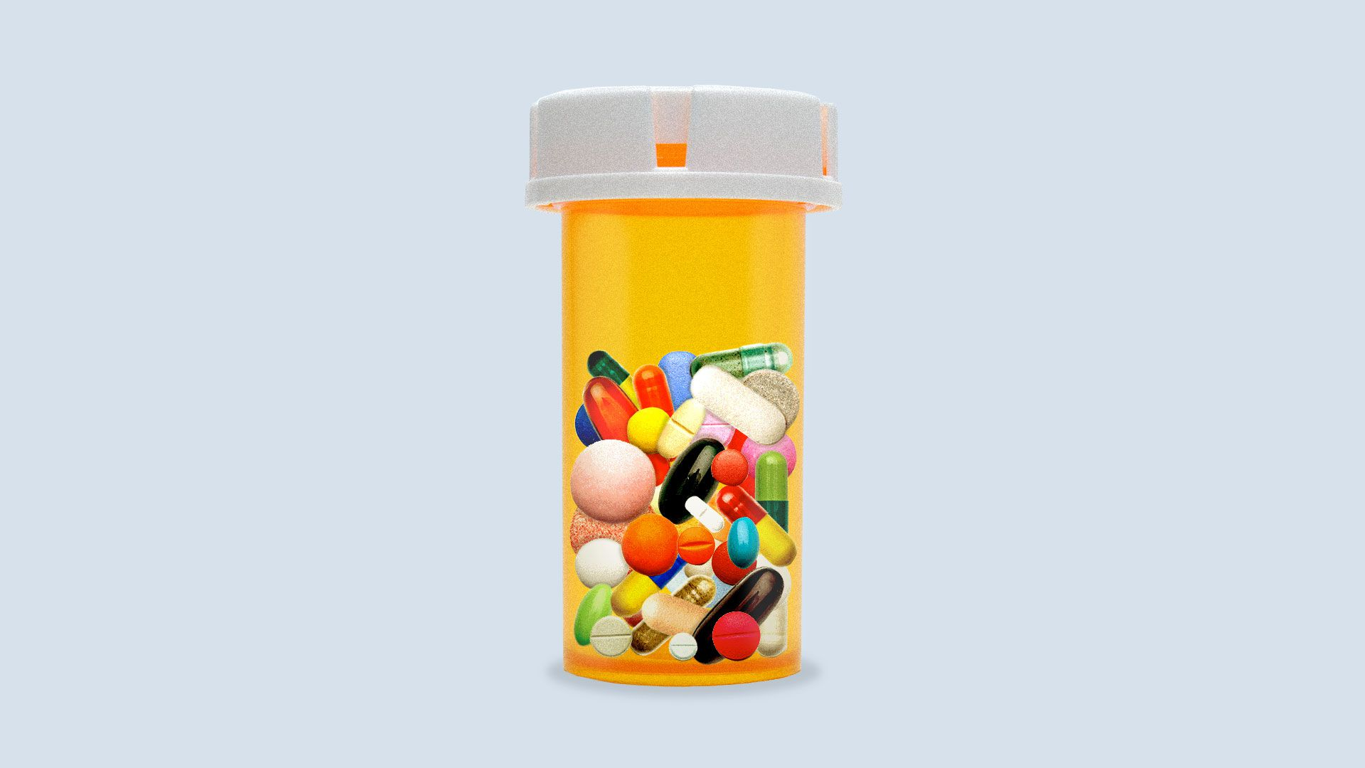 Illustration of a pill bottle filled with different colors, sizes and shapes of pills in it