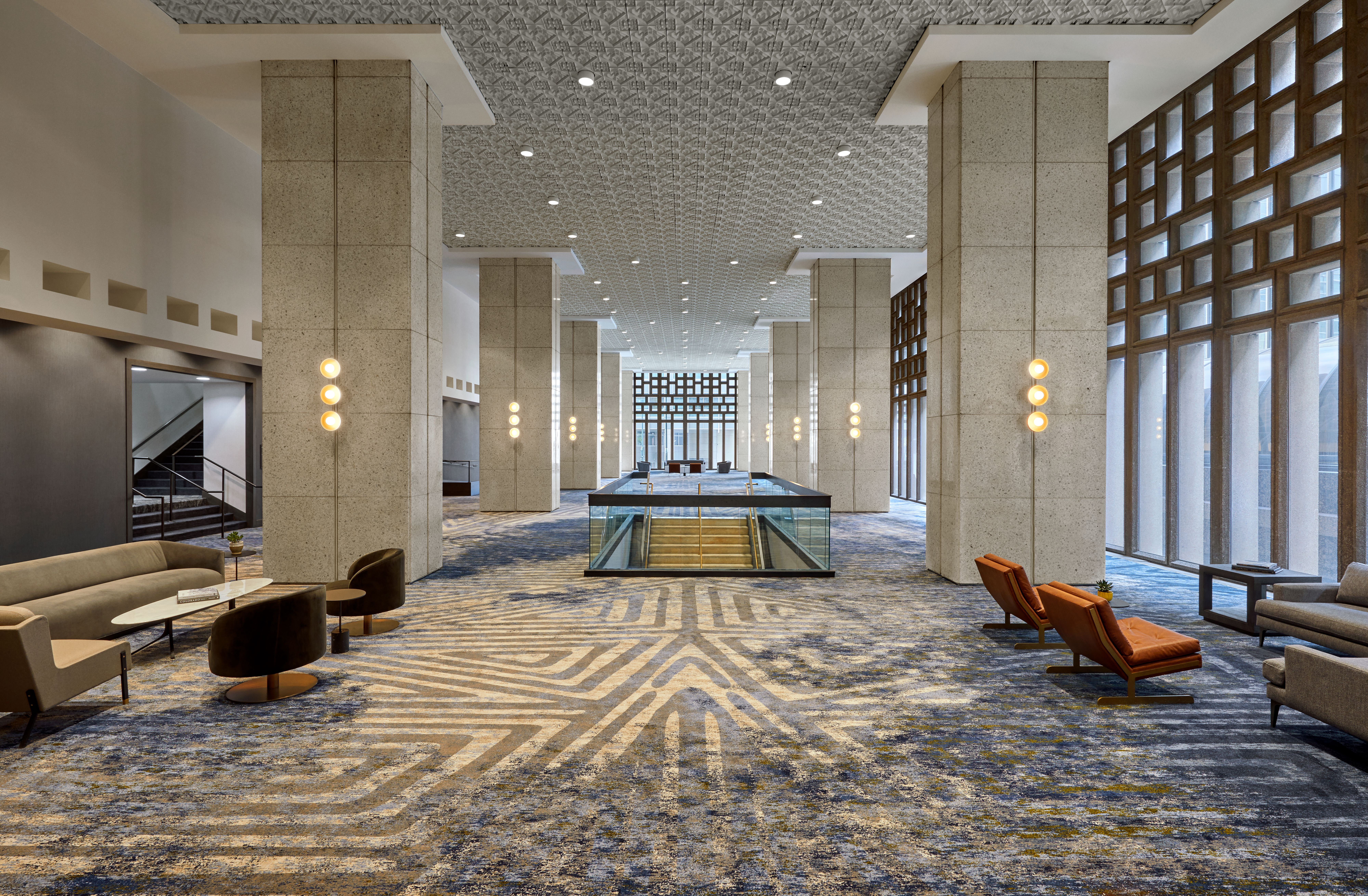The convention center lobby at the Sheraton