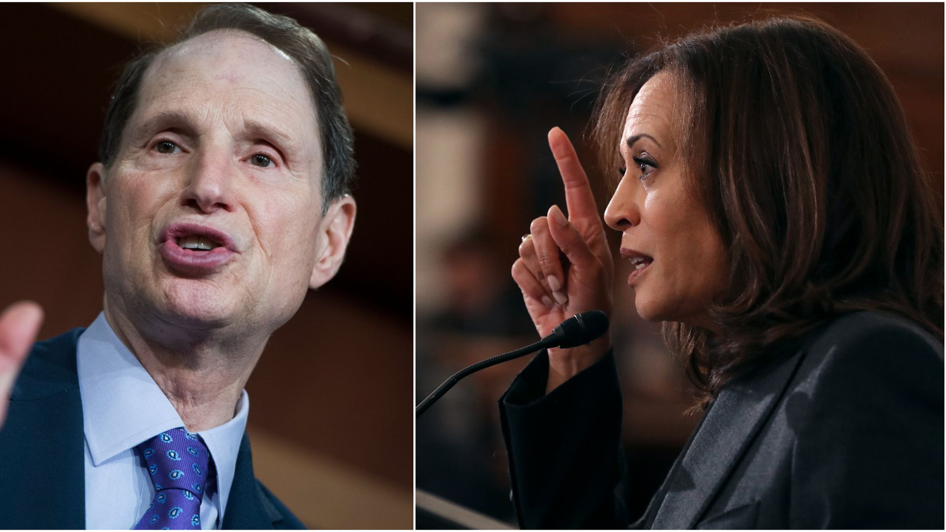 A split screen image with Sen. Ron Wyden and Sen. Kamala Harris
