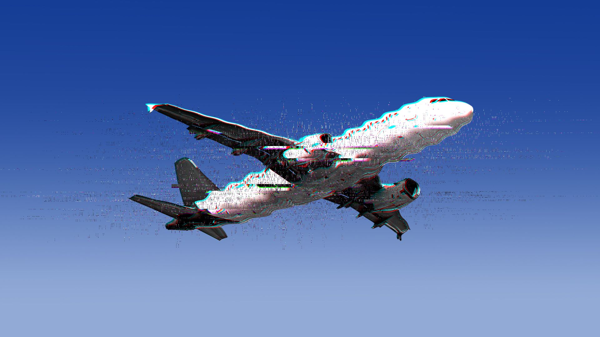 Illustration of a glitching airplane