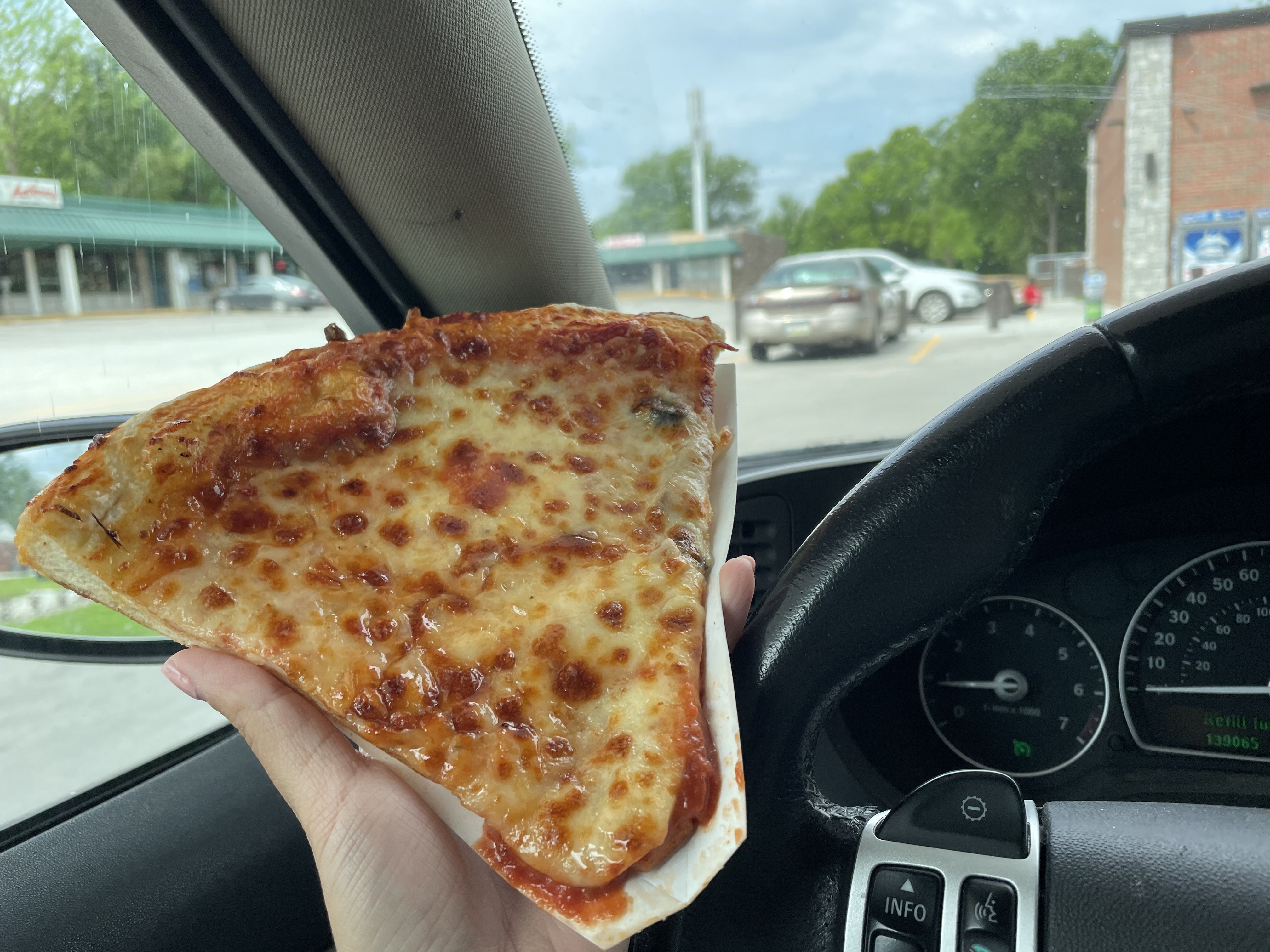 A slice of Casey's pizza.