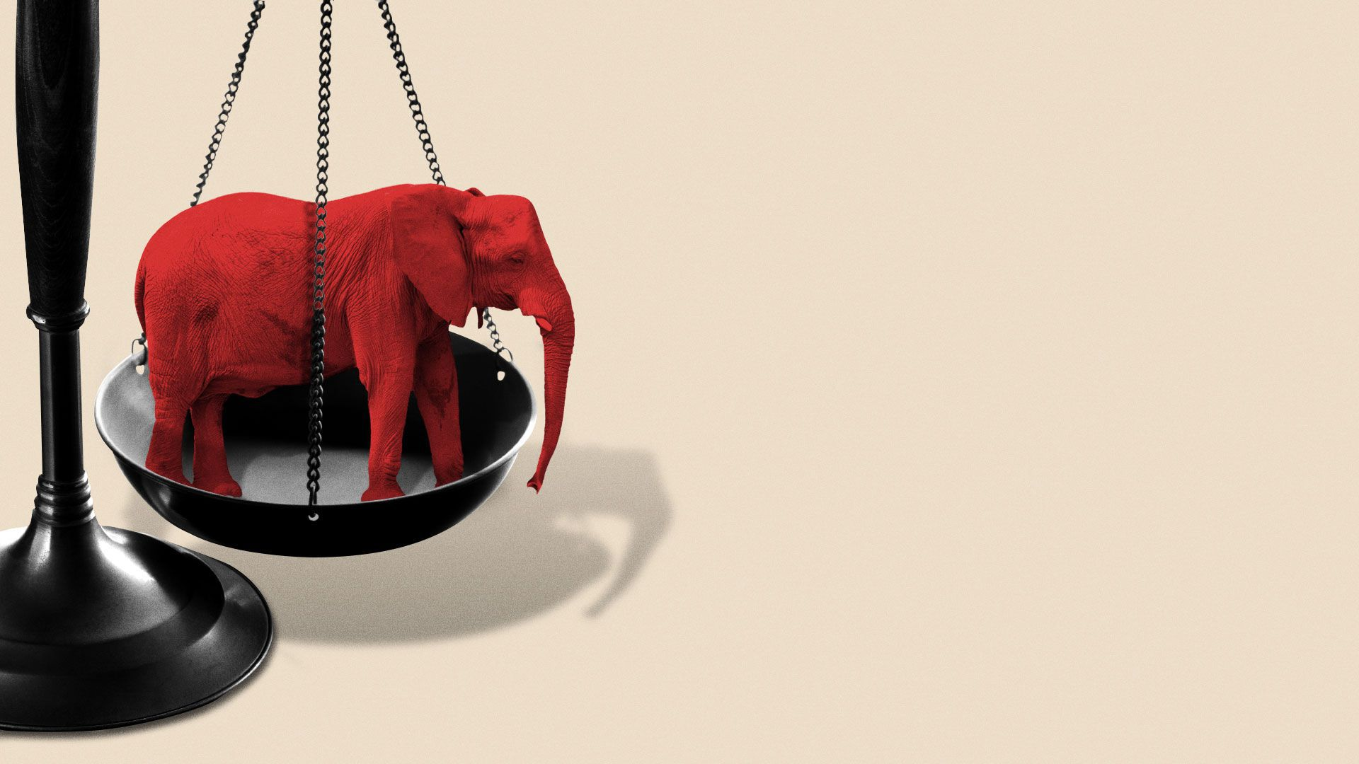 Illustration of scales of justice weighted down by an elephant