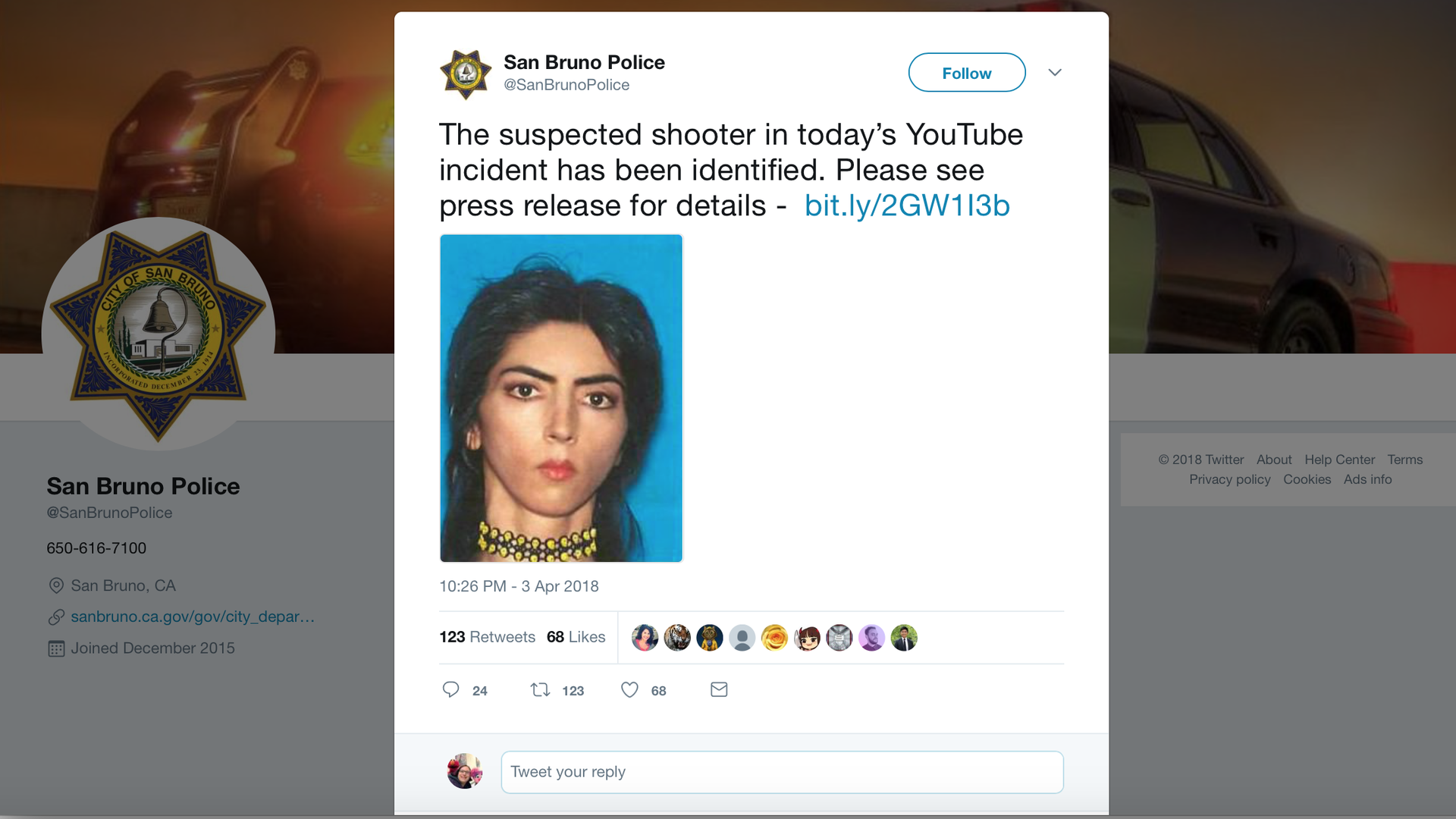 A twitter posting from San Bruno police identifying the suspect.