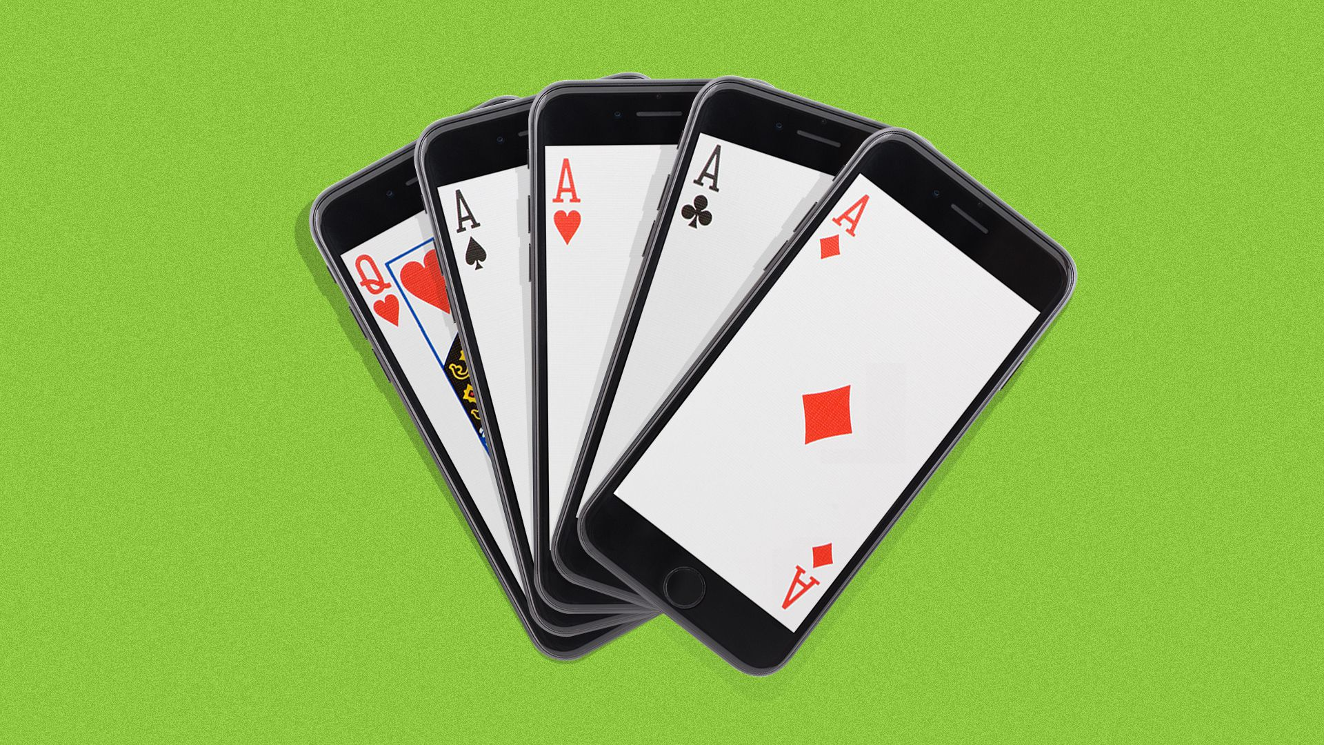 Illustration of a hand of high cards in five separate mobile phones.