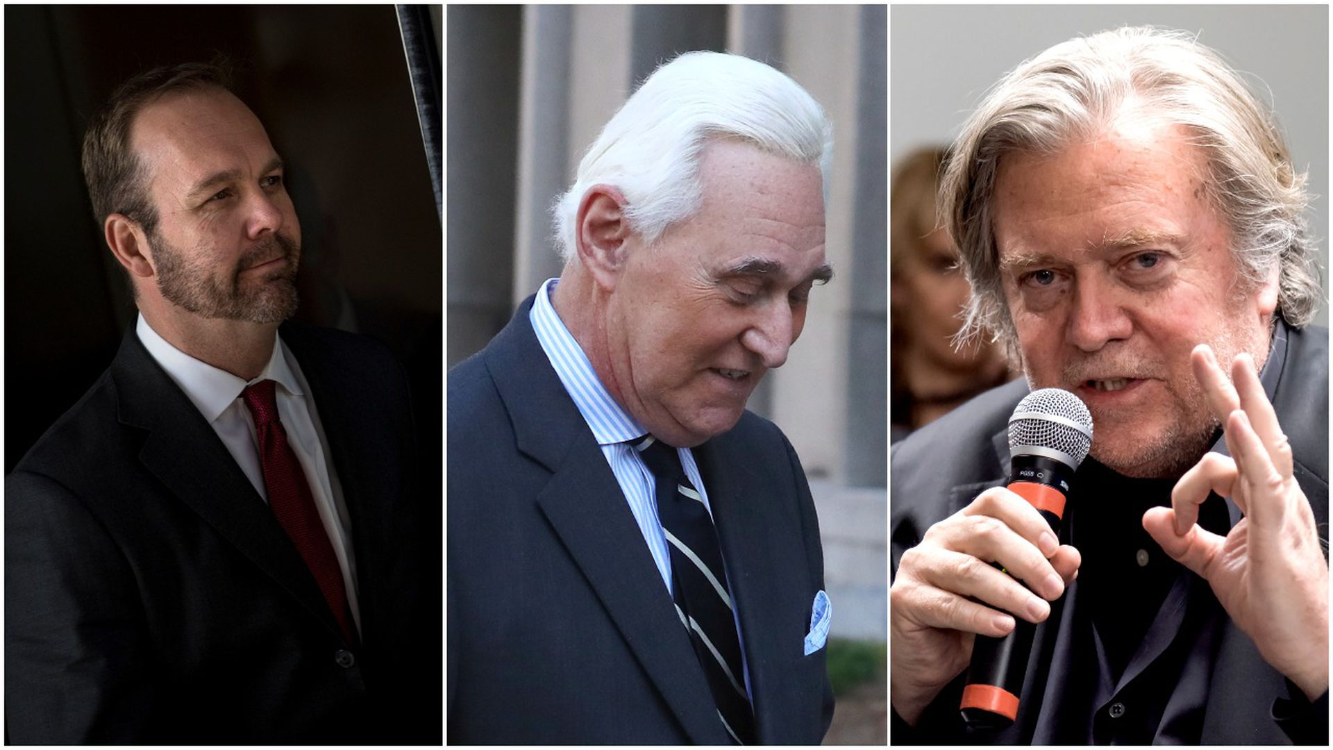 This image is a three-way split between Rick Gates, Roger Stone, and Stephen Bannon.