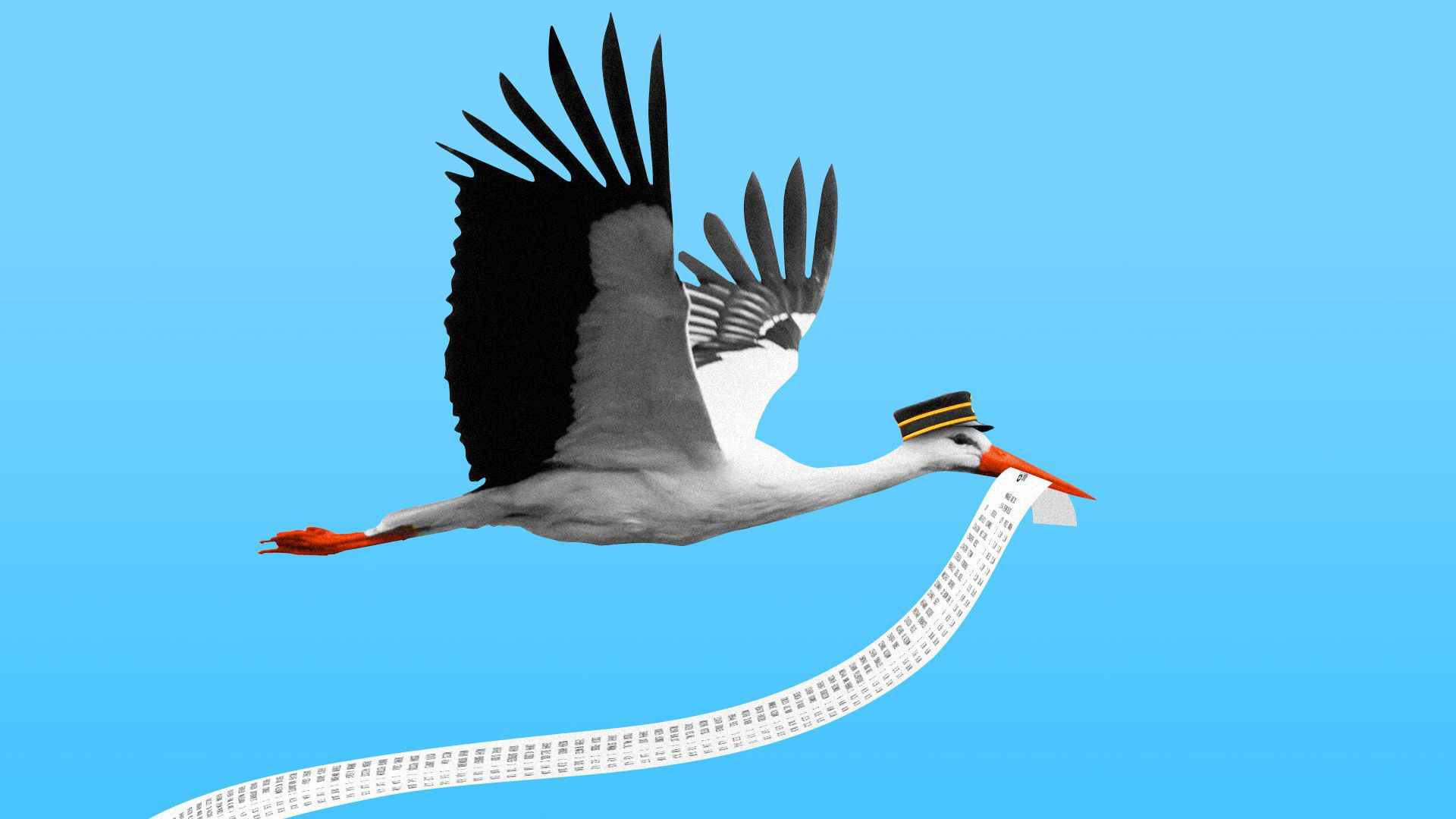 Illustration of a stork holding a very long receipt.