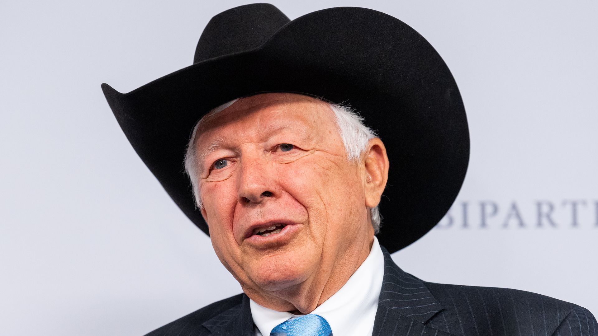 Foster Friess donning a black cowboy hat