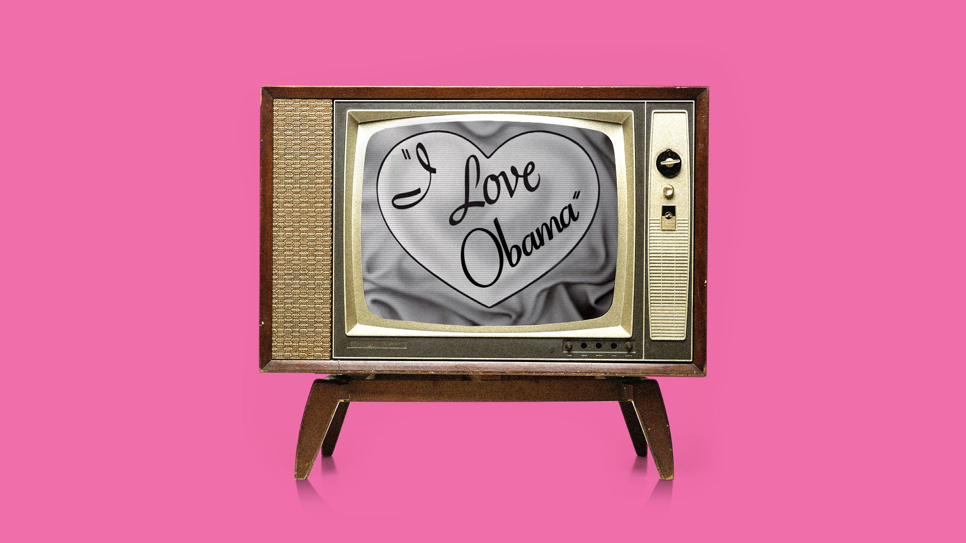"Illustration of an old television with ""I Love Obama"" on the screen looking like the ""I Love Lucy"" logo"