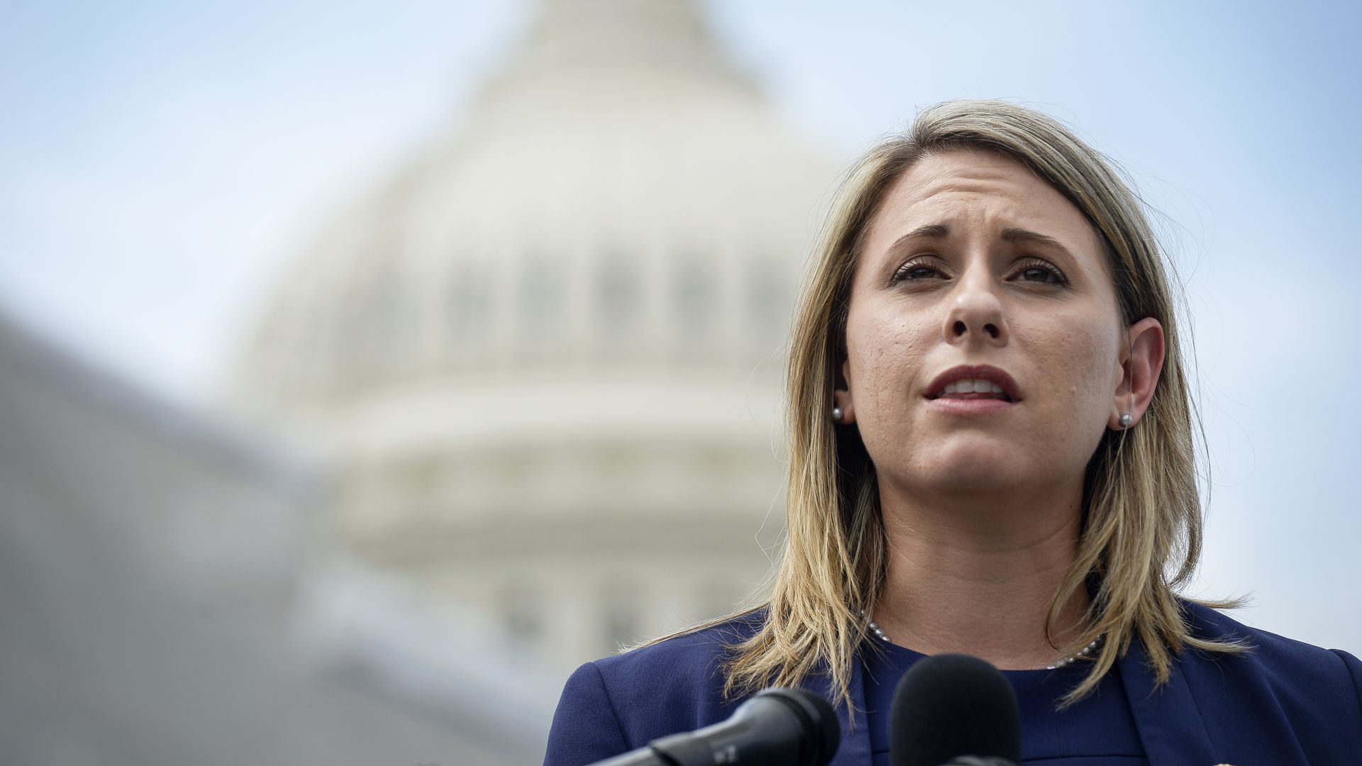 Rep. Katie Hill, D-Calif., speaks at a press conference to introduce ACTION for National Service outside of the Capitol on Tuesday June 25