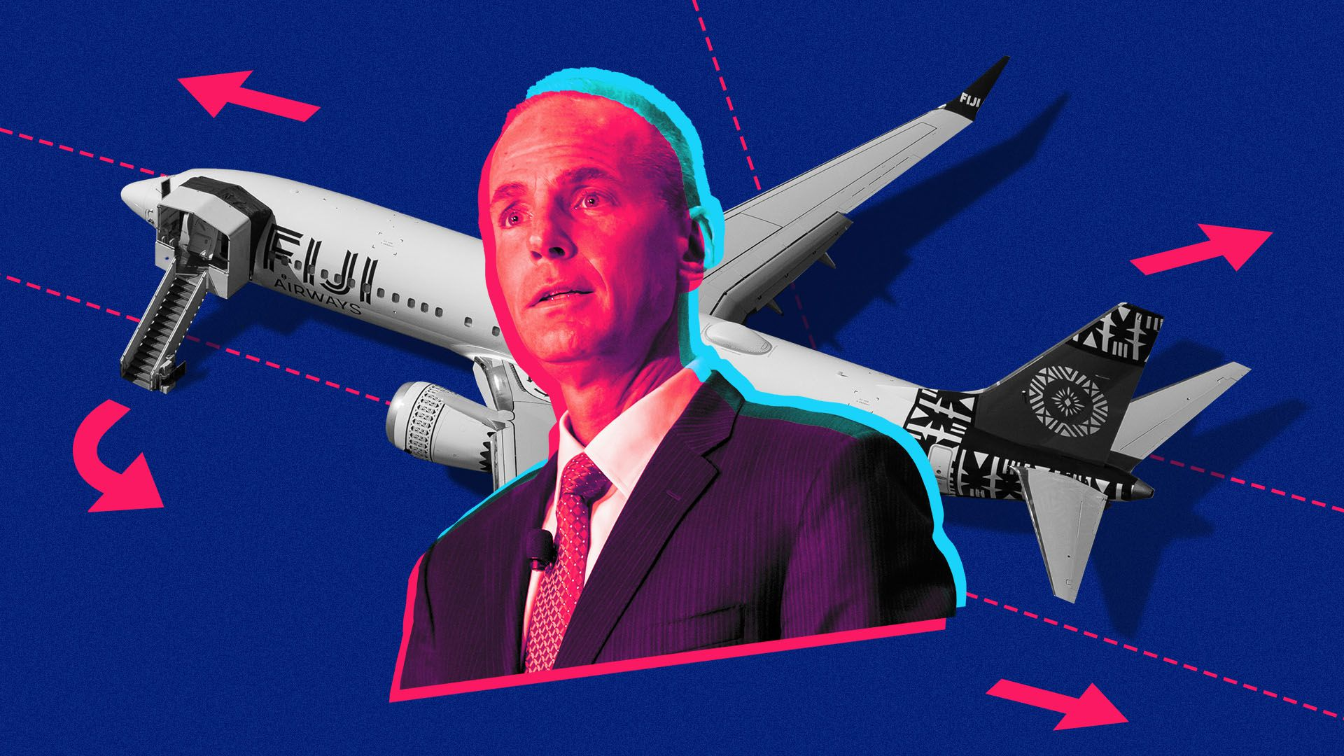Photo illustration of Boeing CEO Dennis Muilenburg and a Boeing 737 MAX on a runway