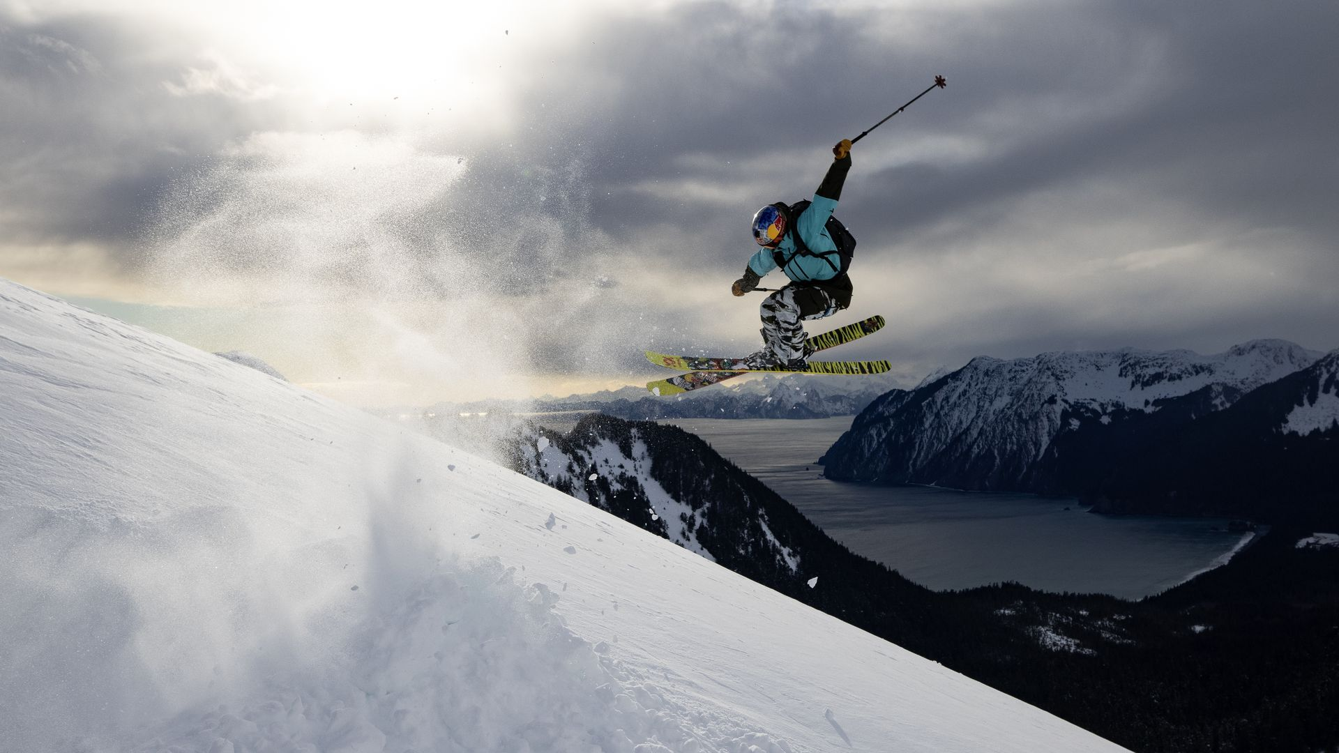 A skier launches off a jump in an image from TGR's latest ski movie.
