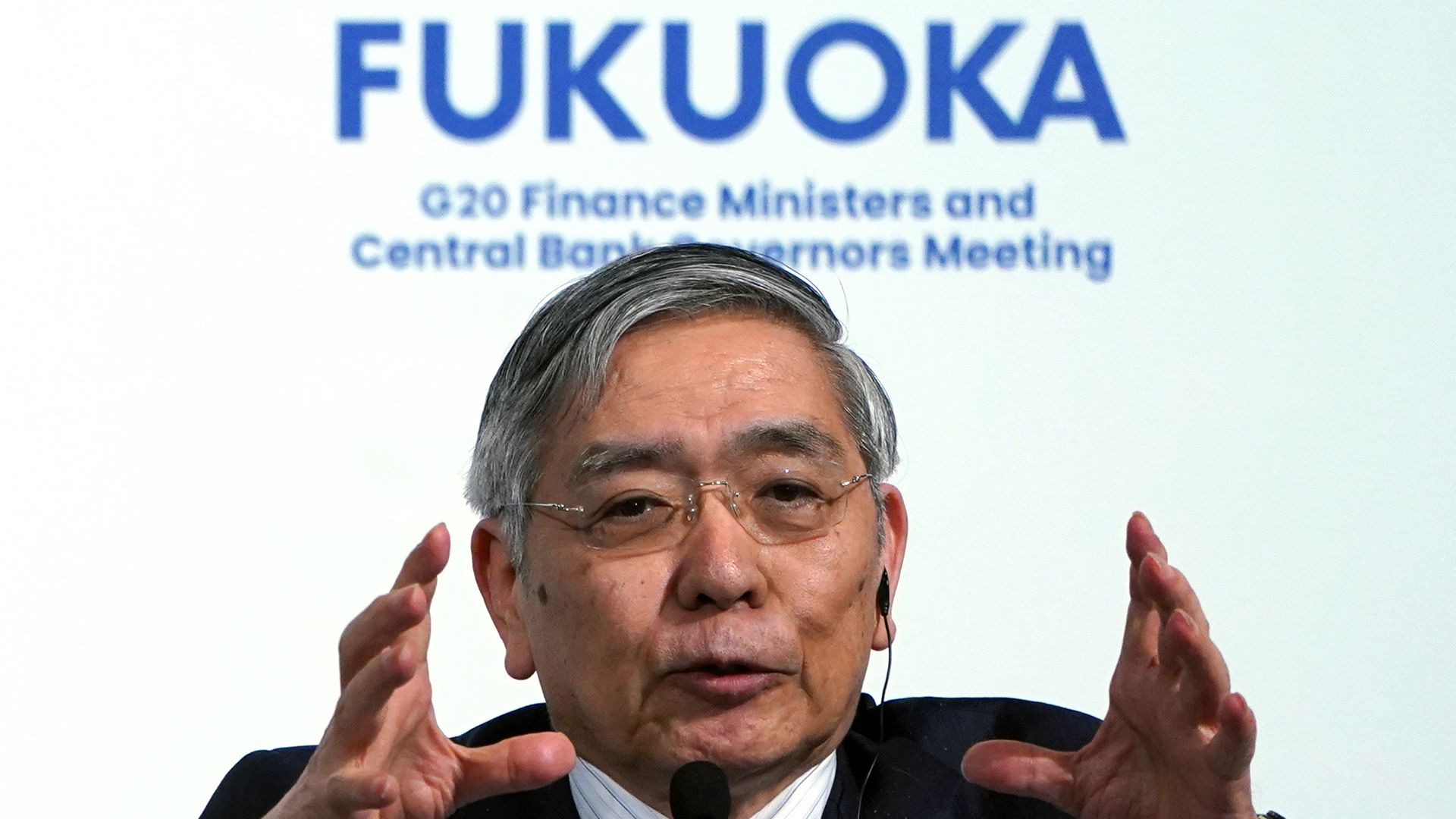Bank of Japan Governor Haruhiko Kuroda answers a question during a host country press conference of the G20 finance ministers and central bank governors meeting in Fukuoka, Japan.