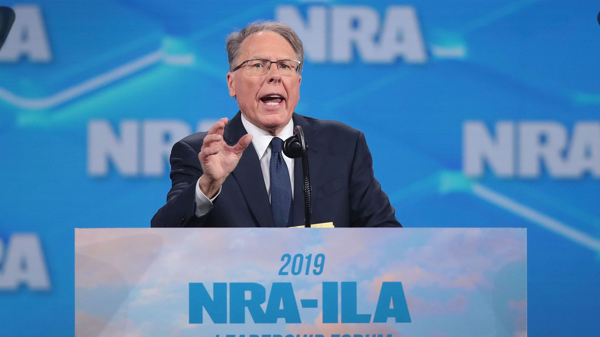 Wayne LaPierre, NRA vice president and CEO, speaks to guests at the NRA-ILA Leadership Forum at the 148th NRA Annual Meetings & Exhibits on April 26