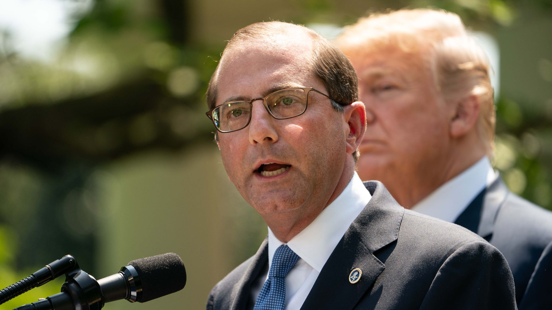 HHS Sec. Alex Azar and President Donald Trump