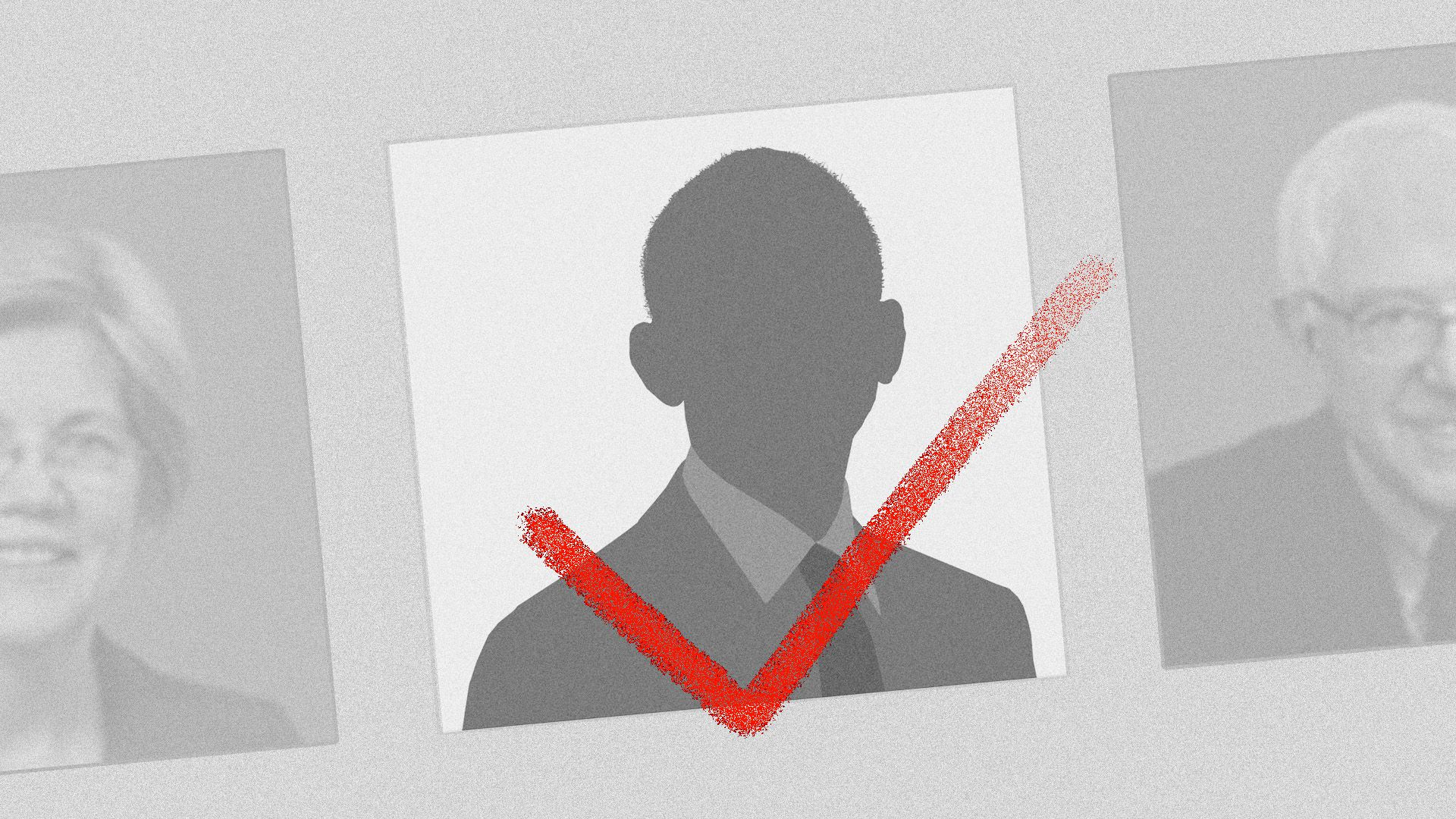 Illustration of a ballot with a silhouette of President Obama checked off