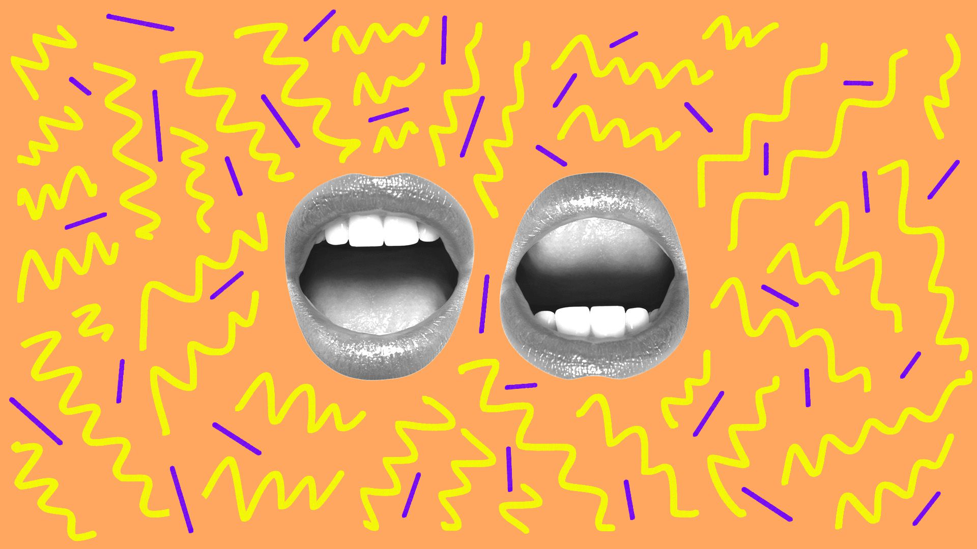 Illustration of two mouths surrounded by 90s style pattern