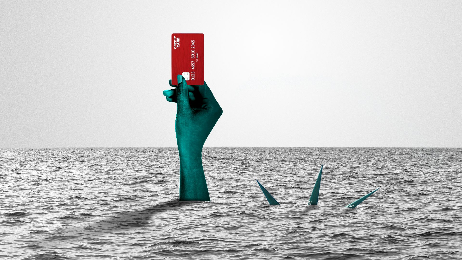 Illustration of the Statue of Liberty drowning and holding up a credit card just above water.