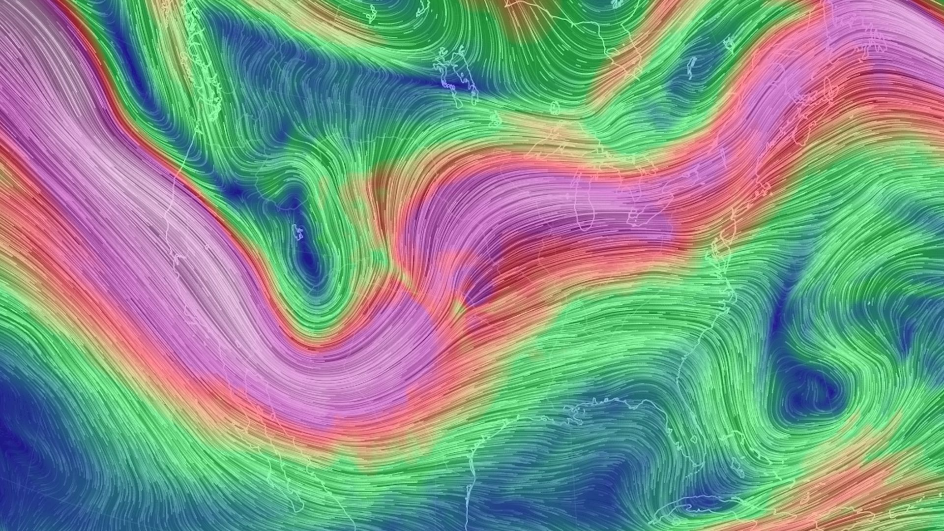 Computer model projection of upper level winds on Monday, May 20, 2019.