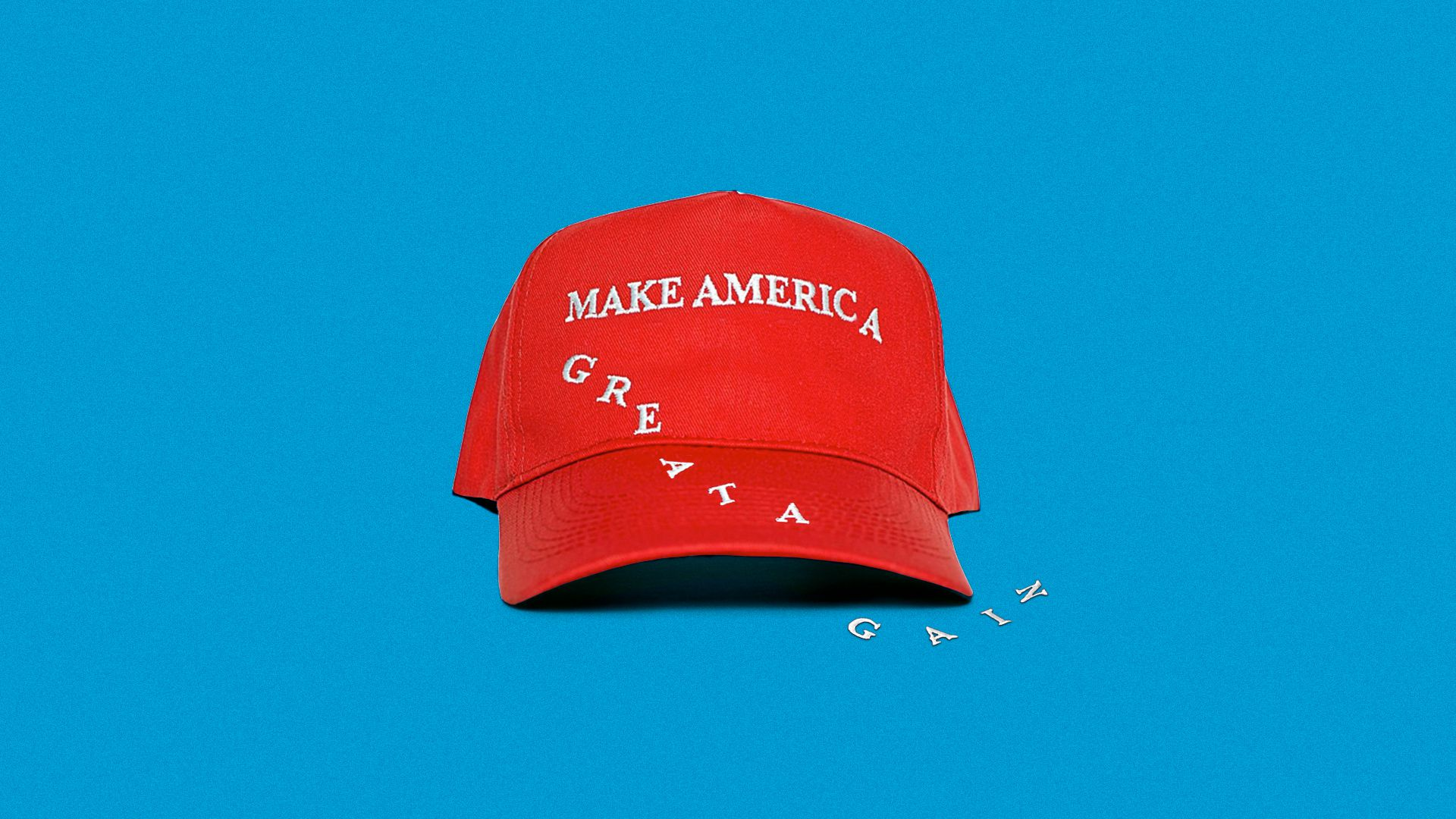 Illustration of a Make America Great Again hat with the letters falling off to the side.