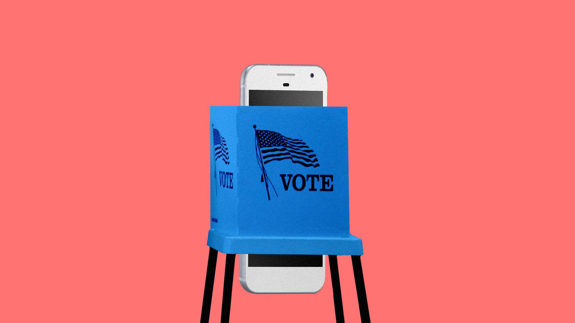 An illustration of a smartphone in a voting booth