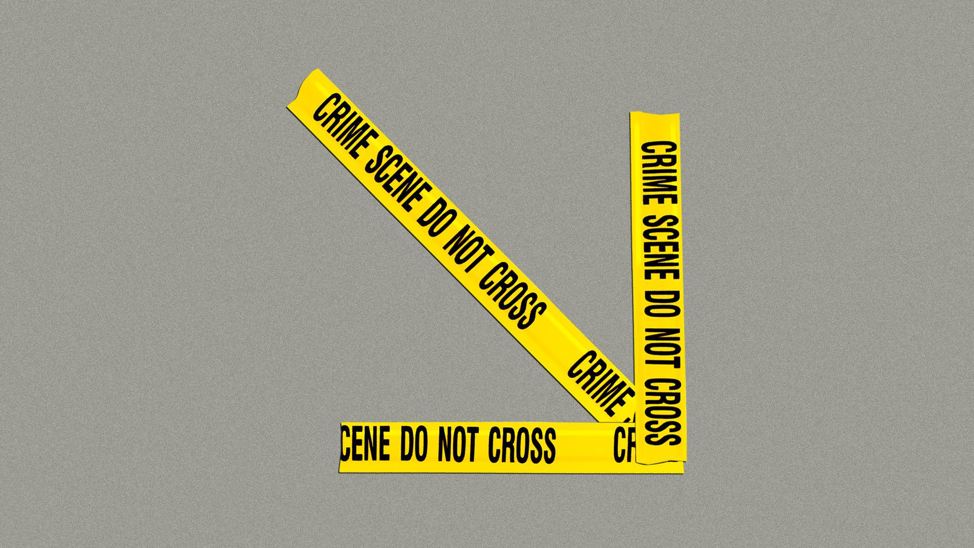 Illustration of a downward arrow made out of crime-scene tape.