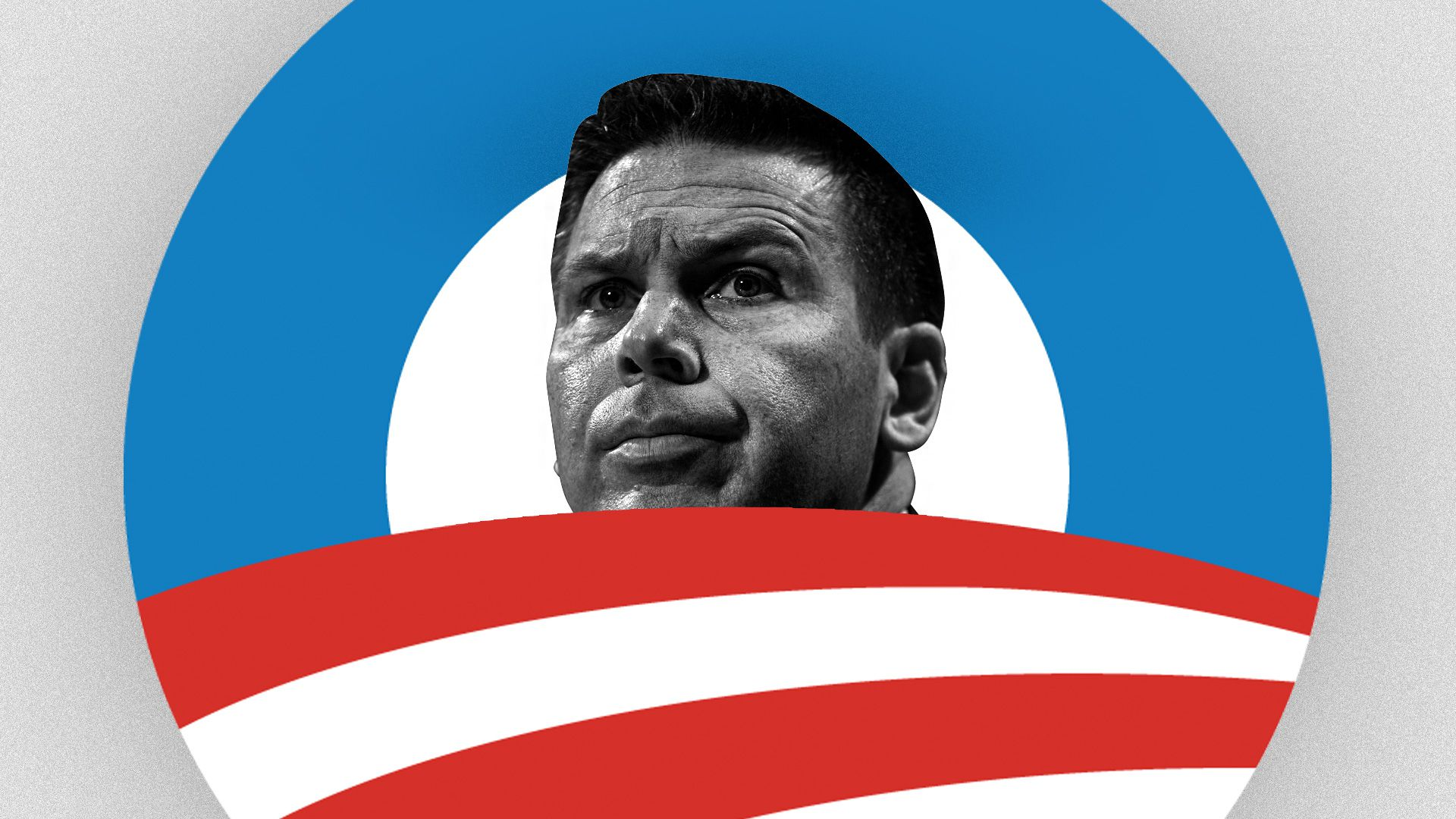 illustration of Kevin McAleenan emerging from an Obama campaign logo