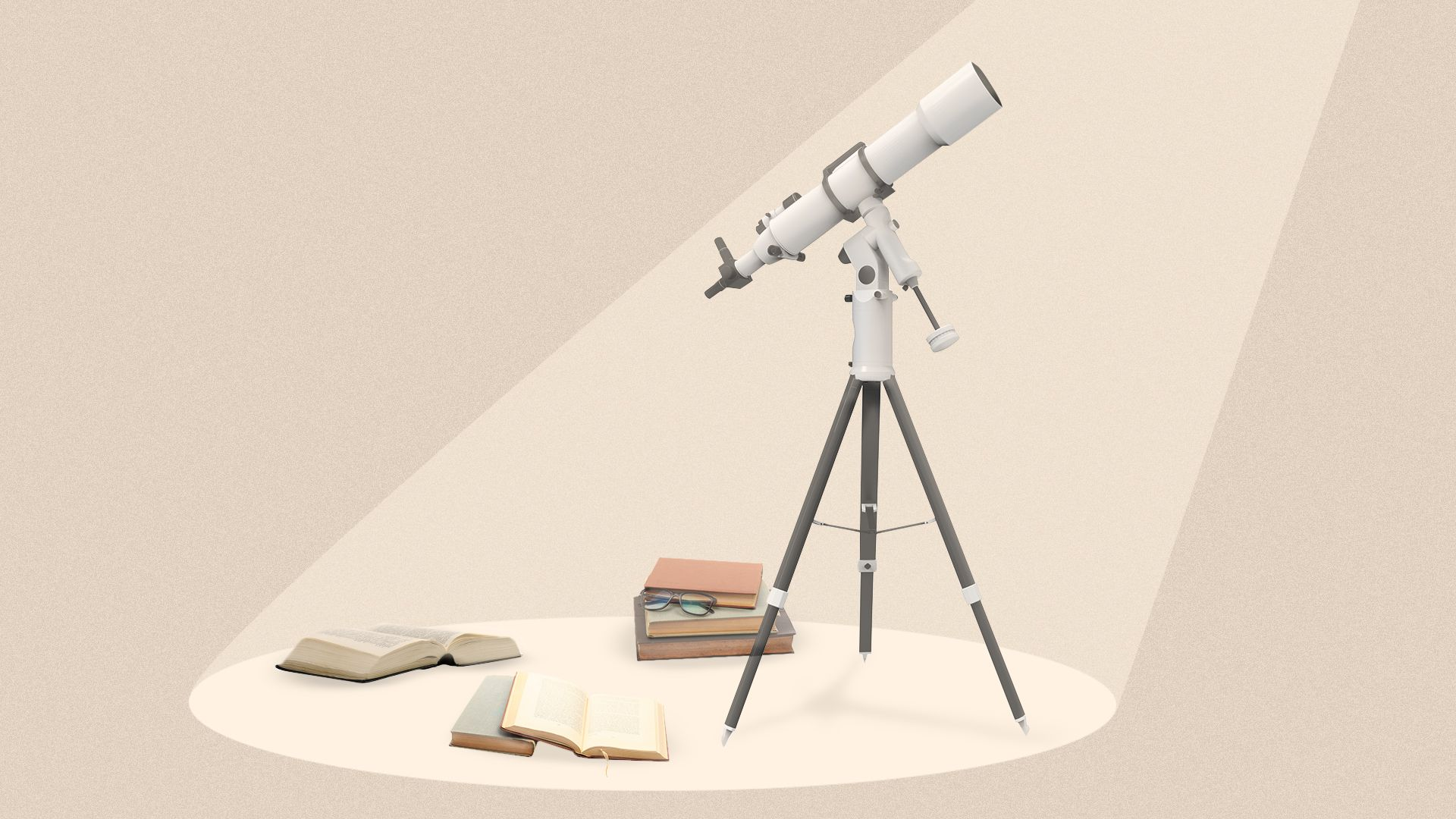 Illustration of a telescope and open books in a spotlight.