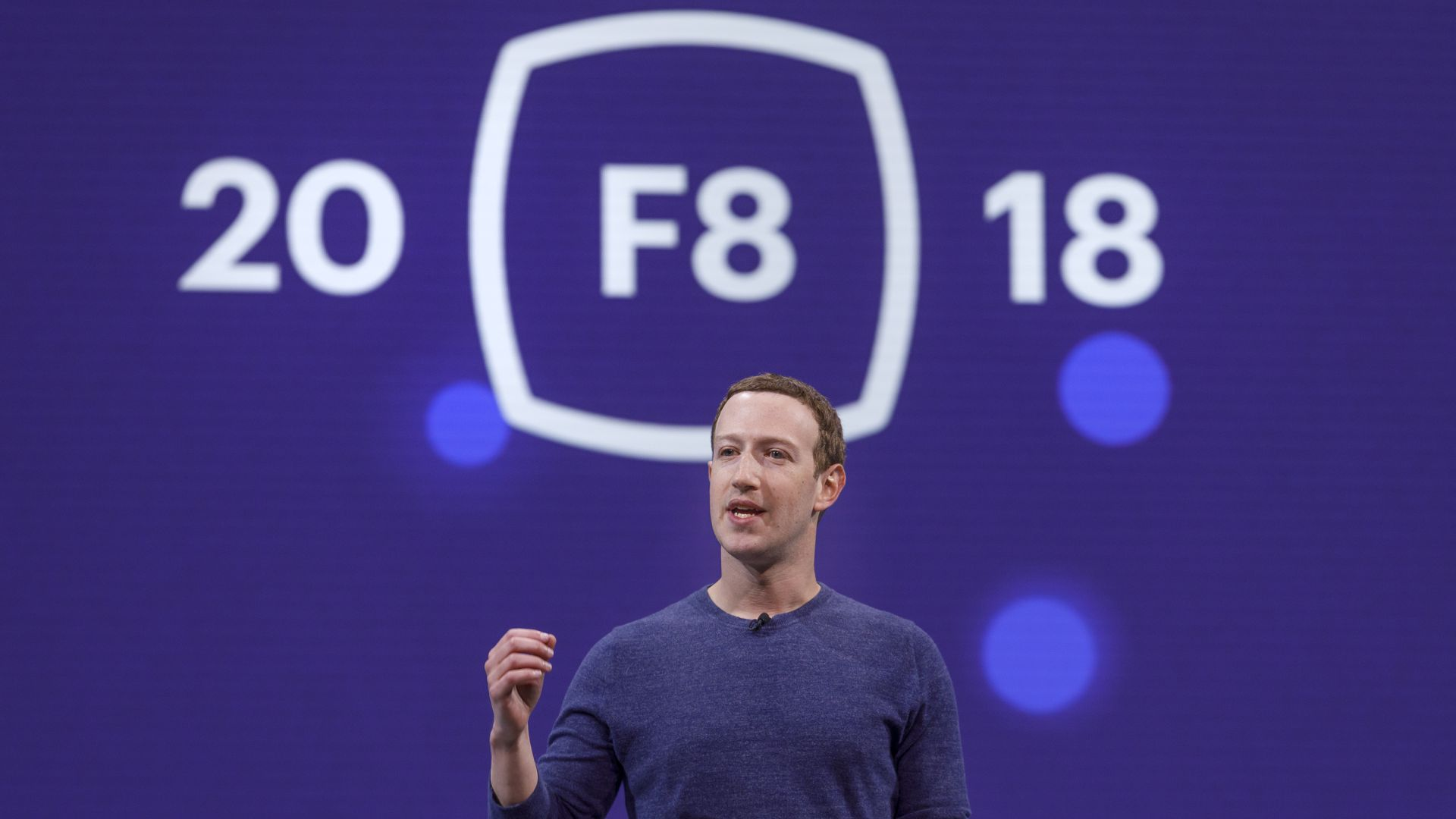 Facebook CEO Mark Zuckerberg at F8 2018.