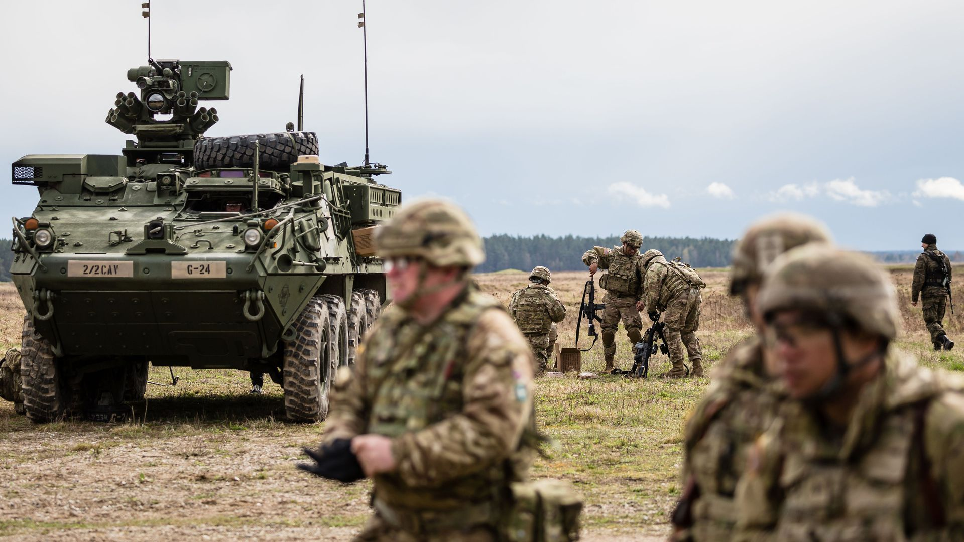 U.S. soldiers at a welcoming ceremony of NATO troops in Orzysz, Poland last year.