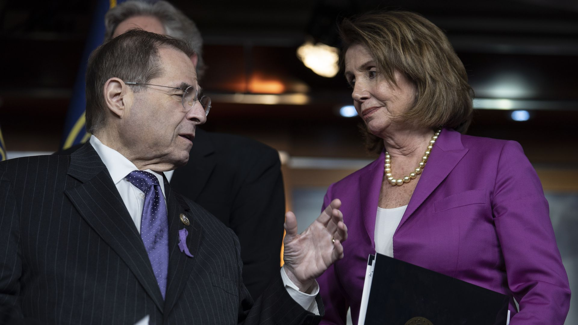 Jerrold Nadler and Nancy Pelosi talk to each other