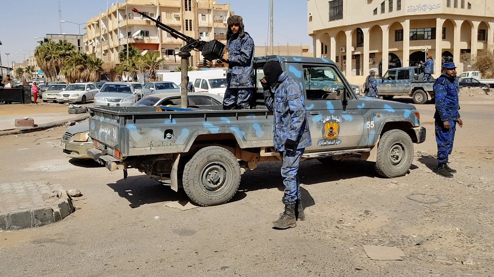 Forces loyal to Libyan strongman Khalifa Haftar patroling in downtown Sebha, the biggest city in southern Libya, in February.