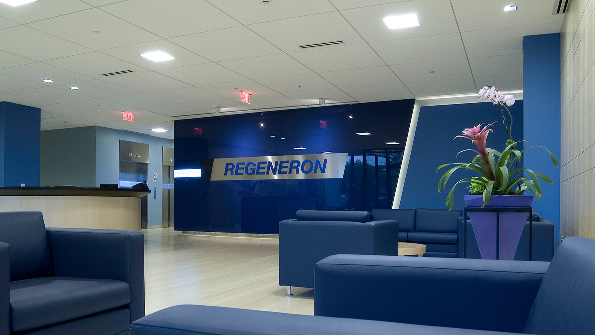 The lobby of Regeneron corporate headquarters.