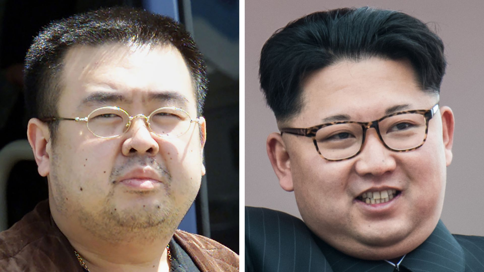 This image is a split screen of Kim Jong Nam and his brother, Kim Jong-un