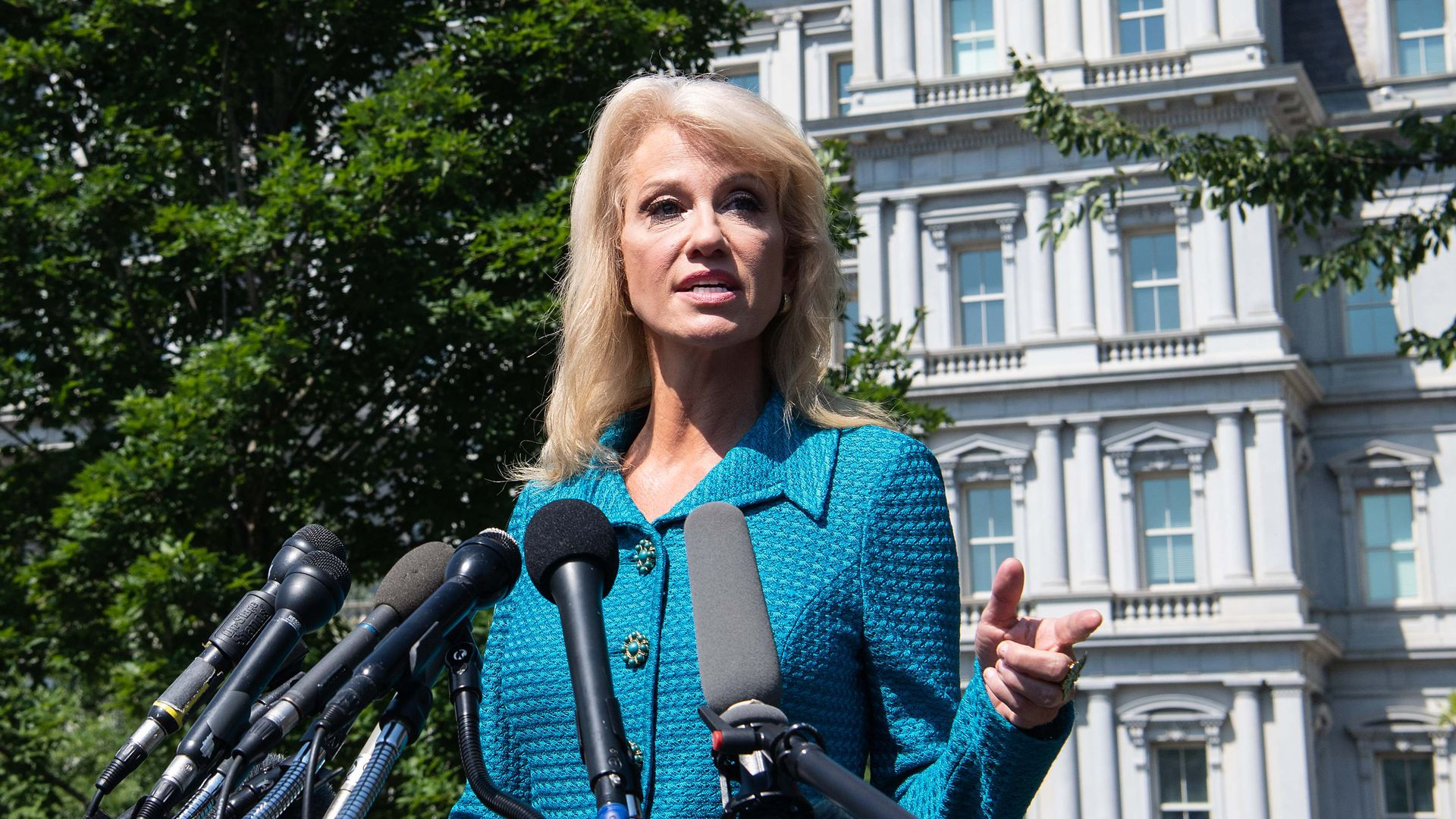 White House counselor Kellyanne Conway speaks to the press at the White House in Washington, DC