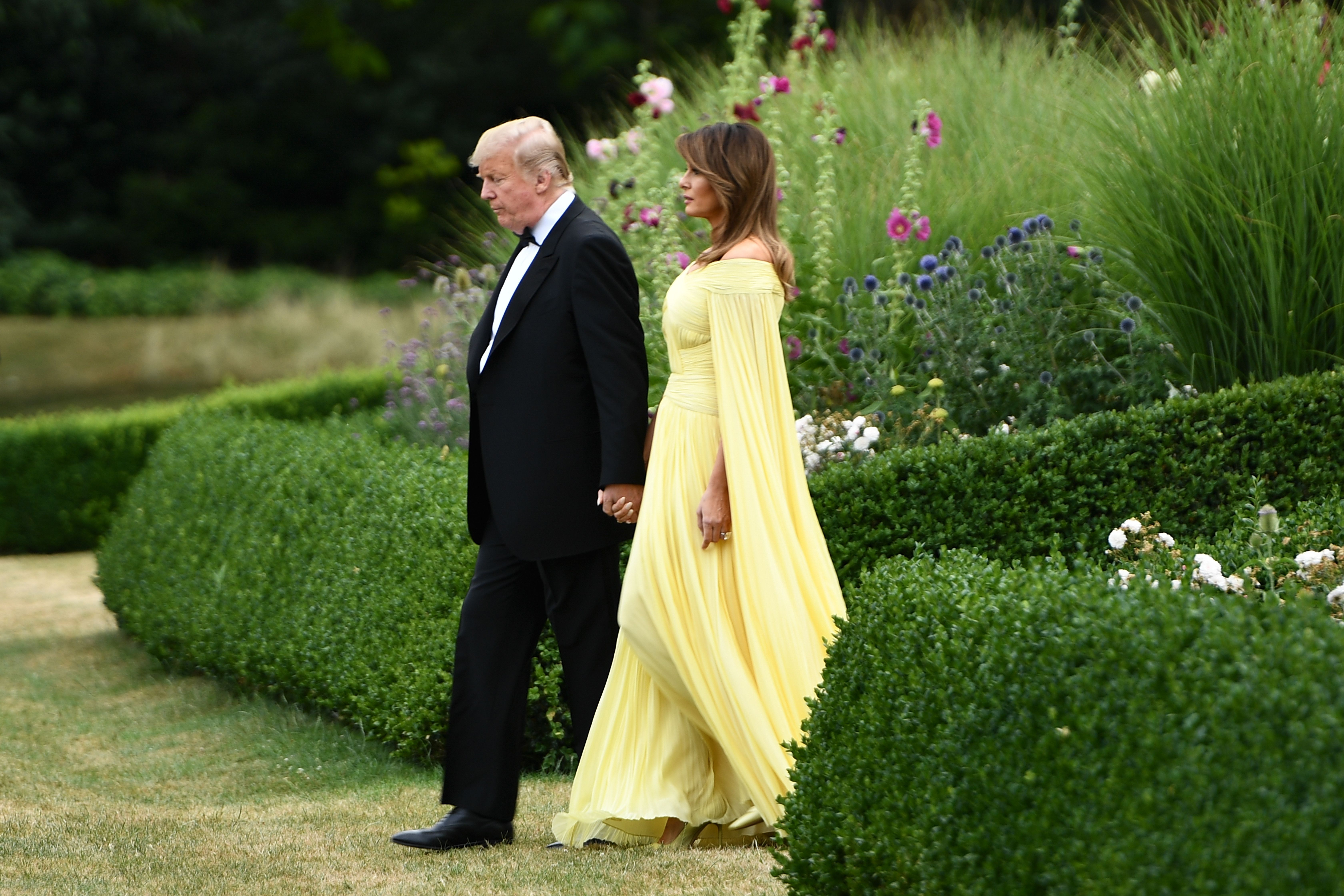 Trump and Melania depart Winfield House in London