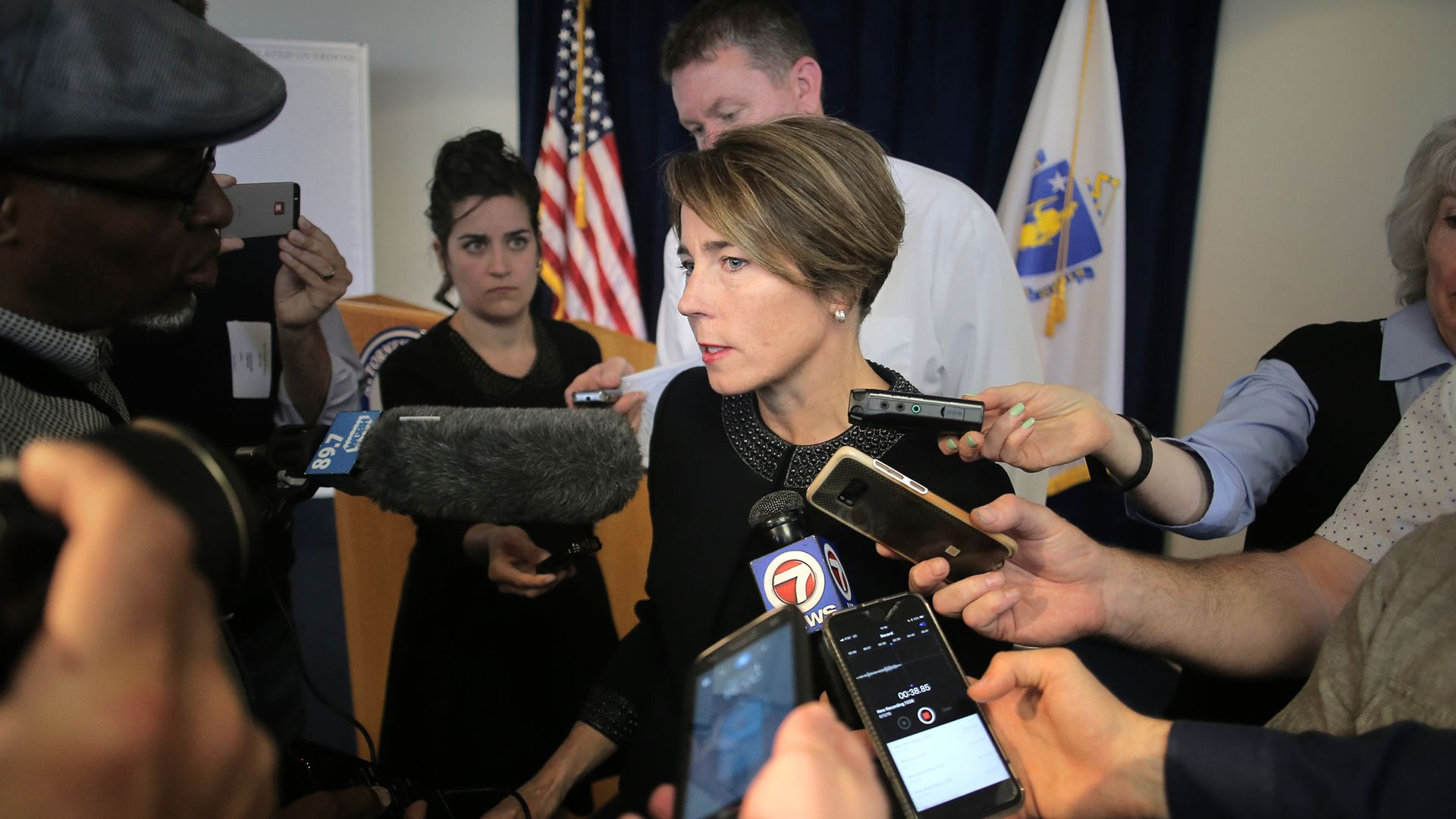 Massachusetts AG MAura HEaly answers questions from press