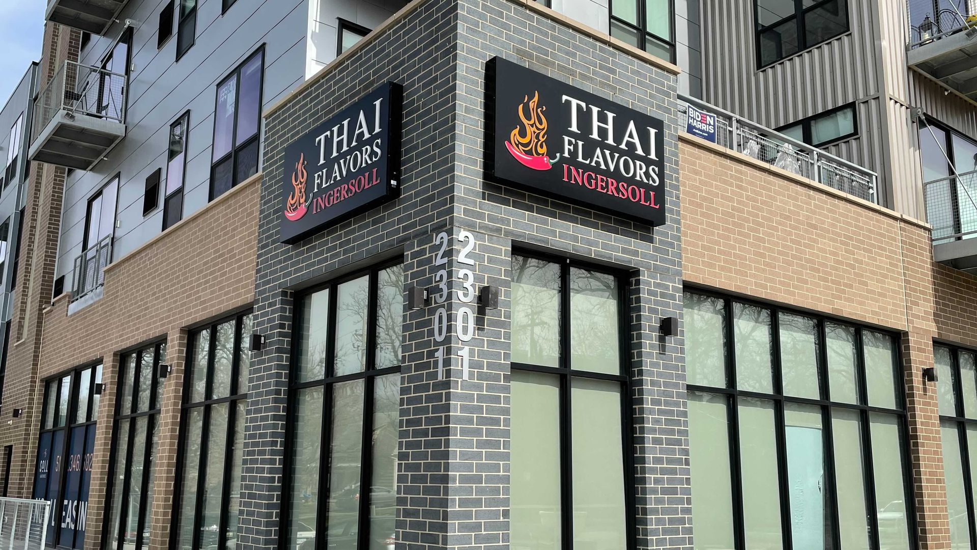 The new Thai Flavors storefront off Ingersoll Avenue.