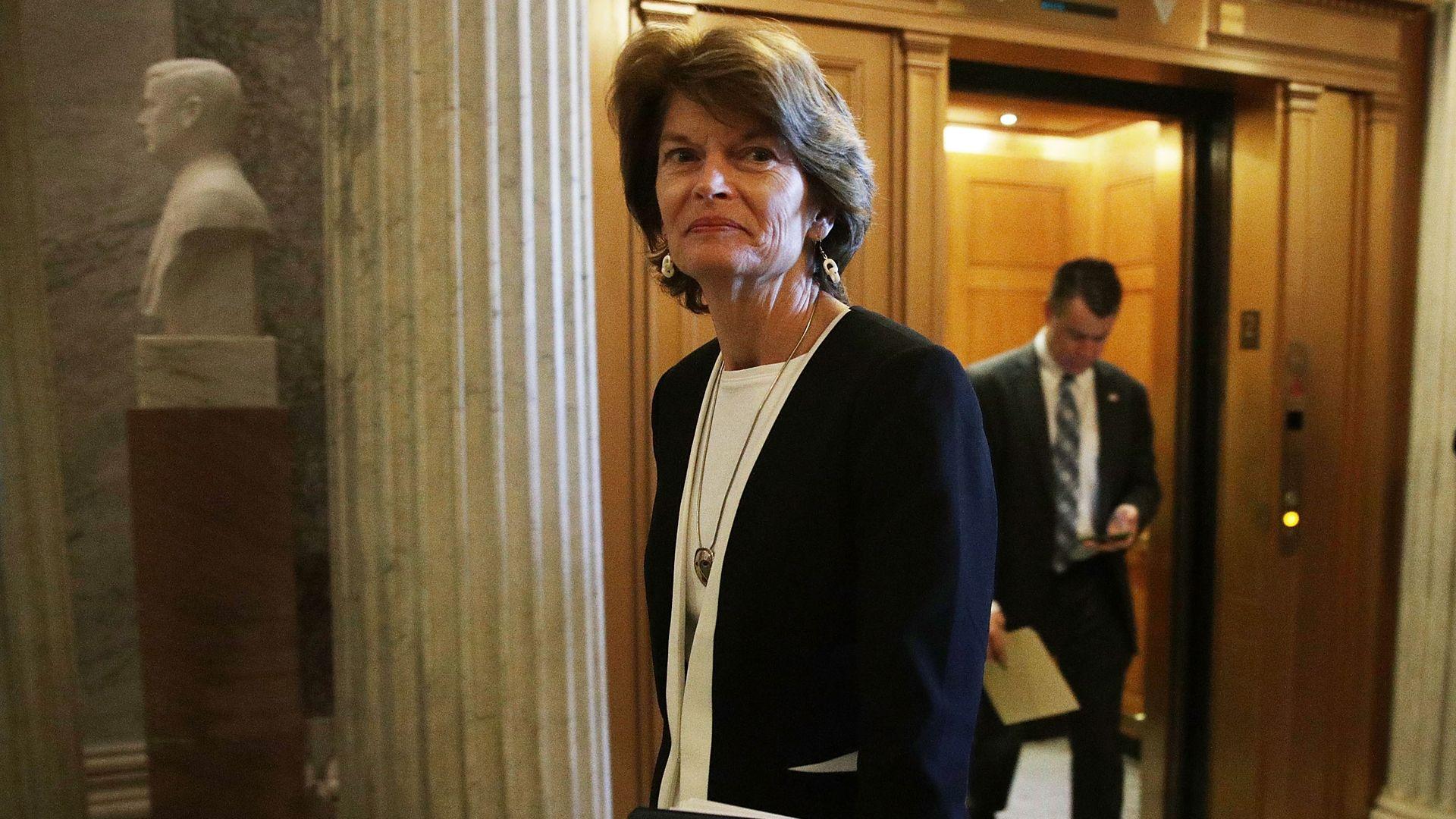 Sen. Lisa Murkowski walks into Capitol Building