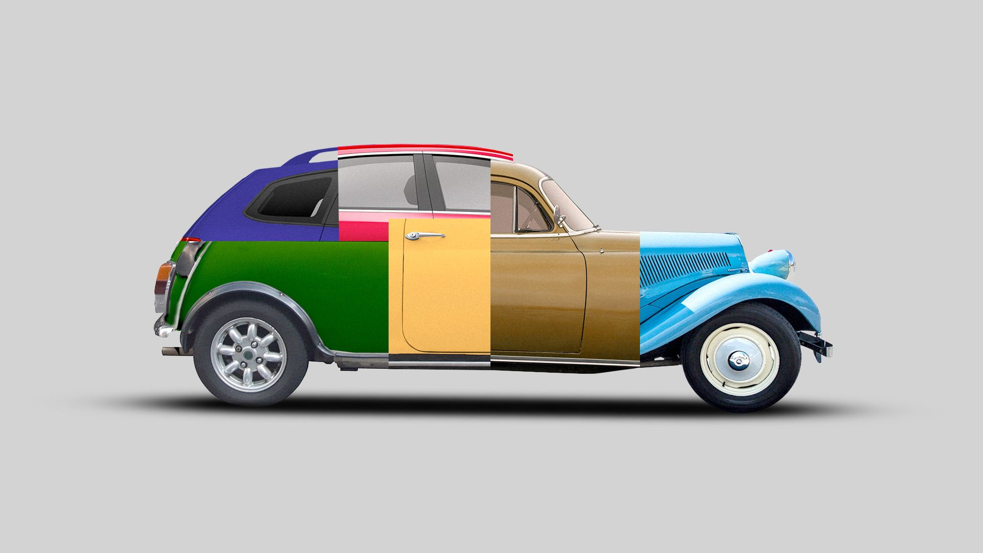 Illustration of a car made out of a bunch of different cars