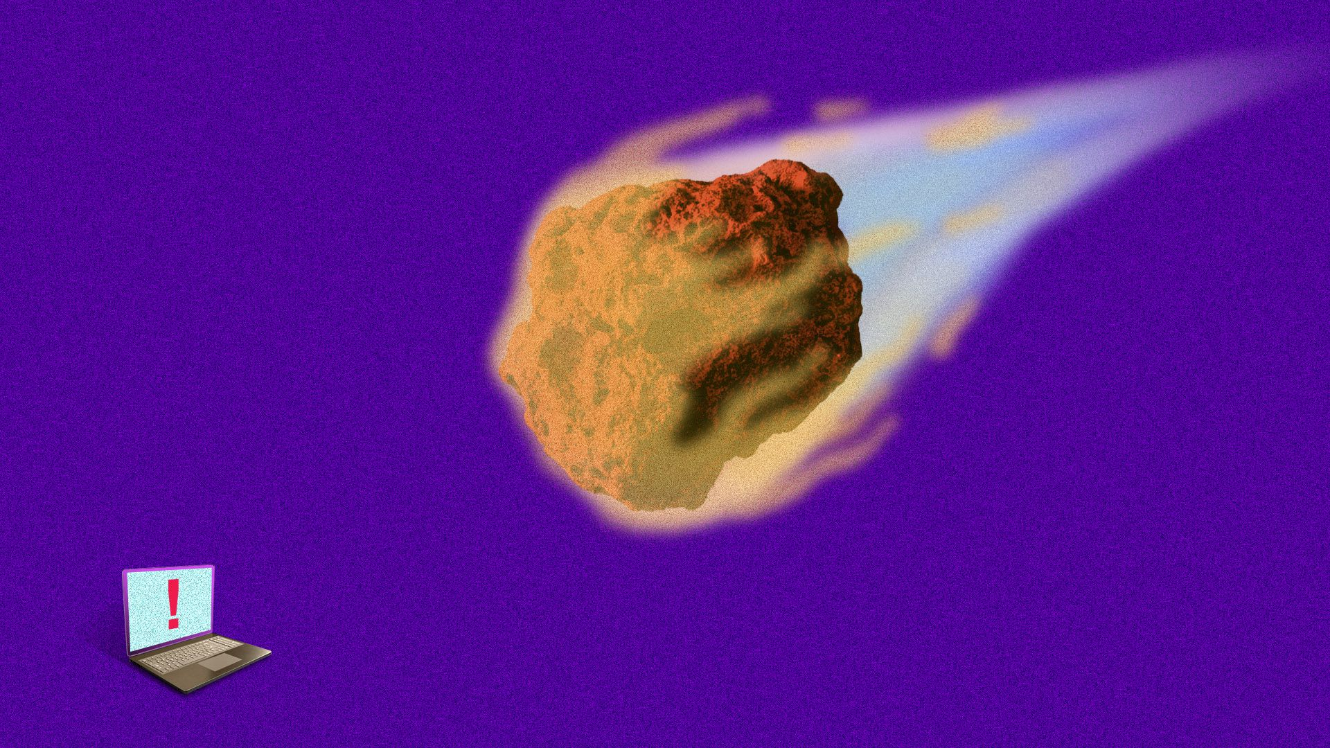 An illustration of a flaming meteor headed for a laptop, over a purple background.