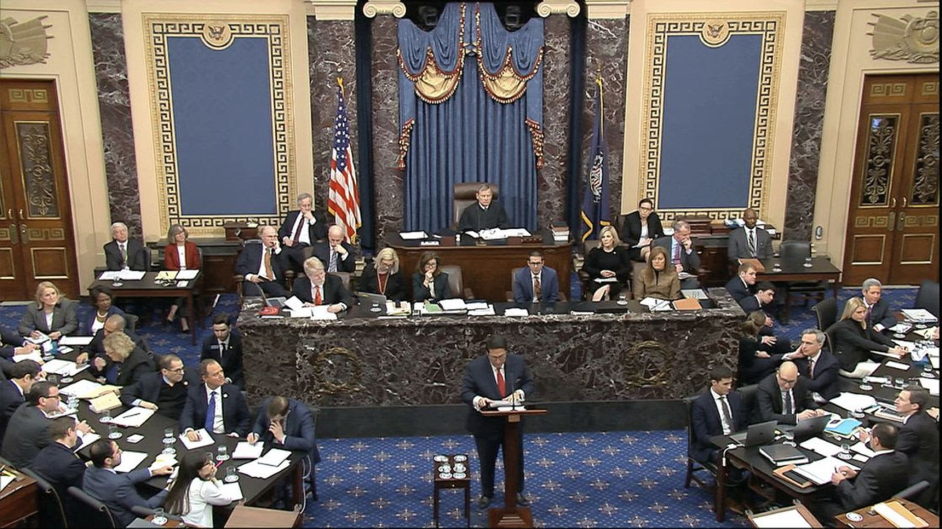 Trump team opts to not burn down the house on opening day of impeachment trial defense