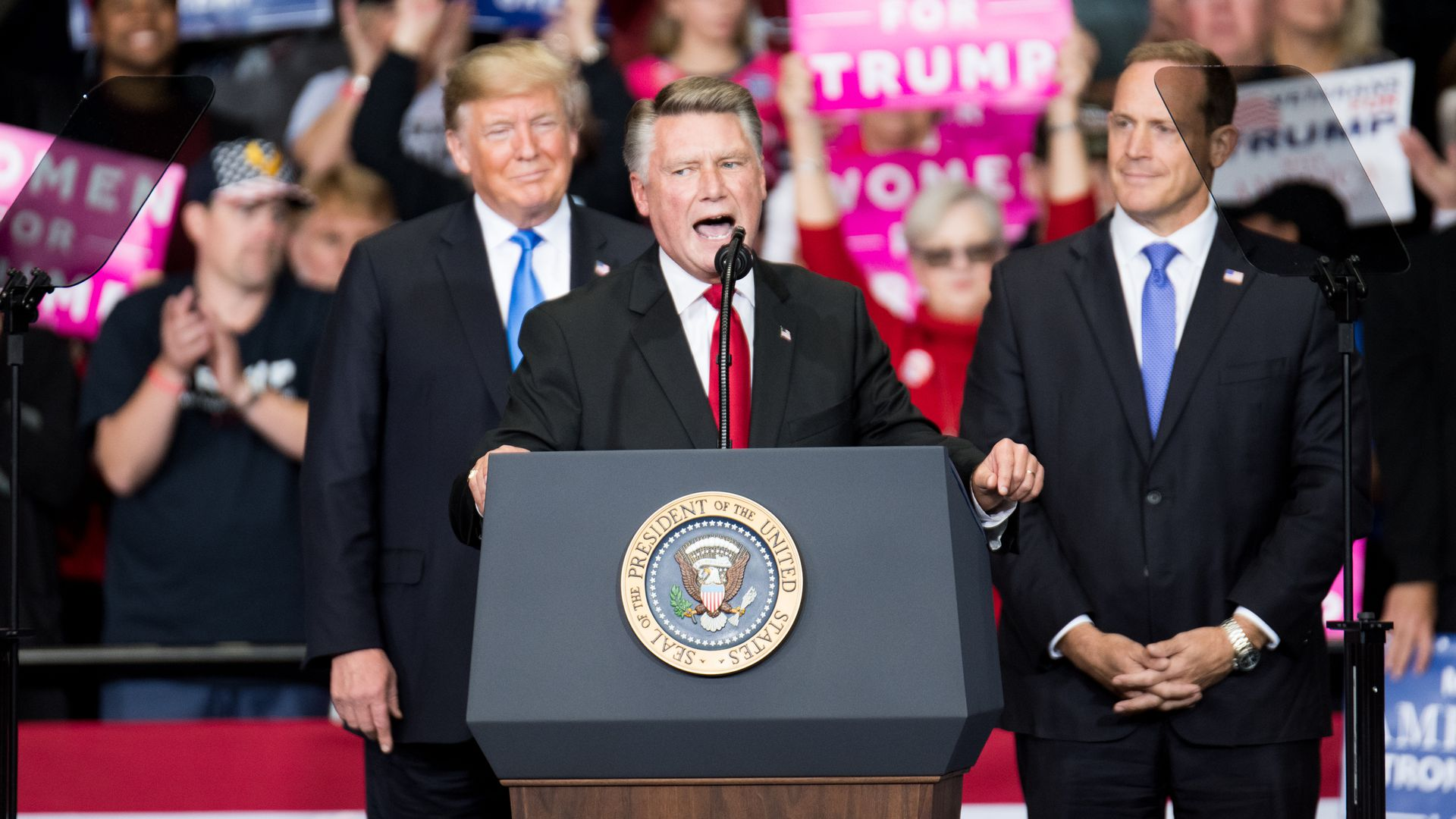 Mark Harris of North Carolina speaks at trump rally
