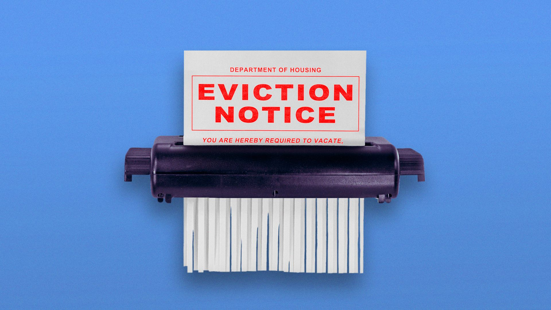 Illustration of eviction notice being shredded.