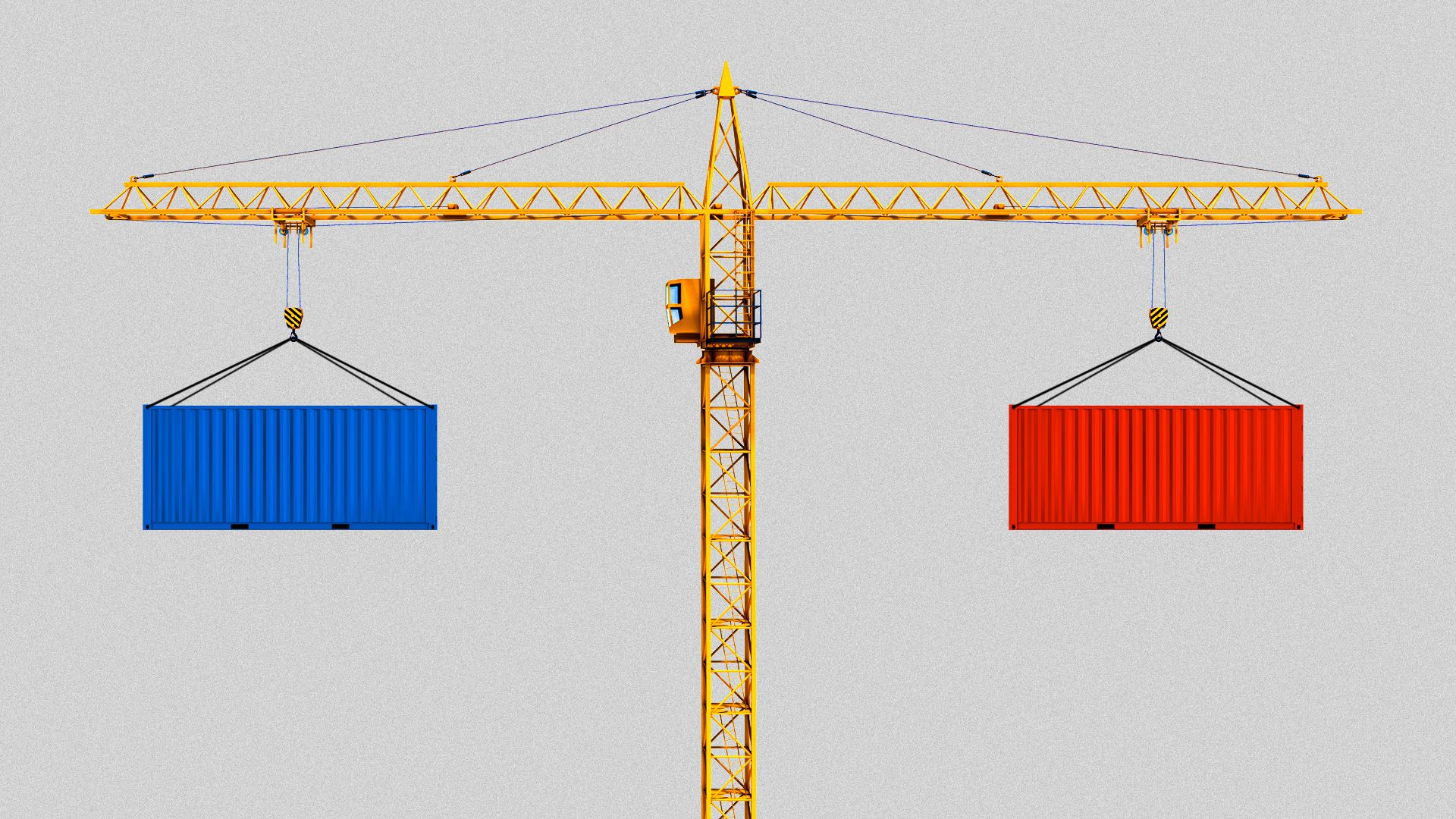 Illustration of a crane holding up two containers, one red and one blue, as a balancing act