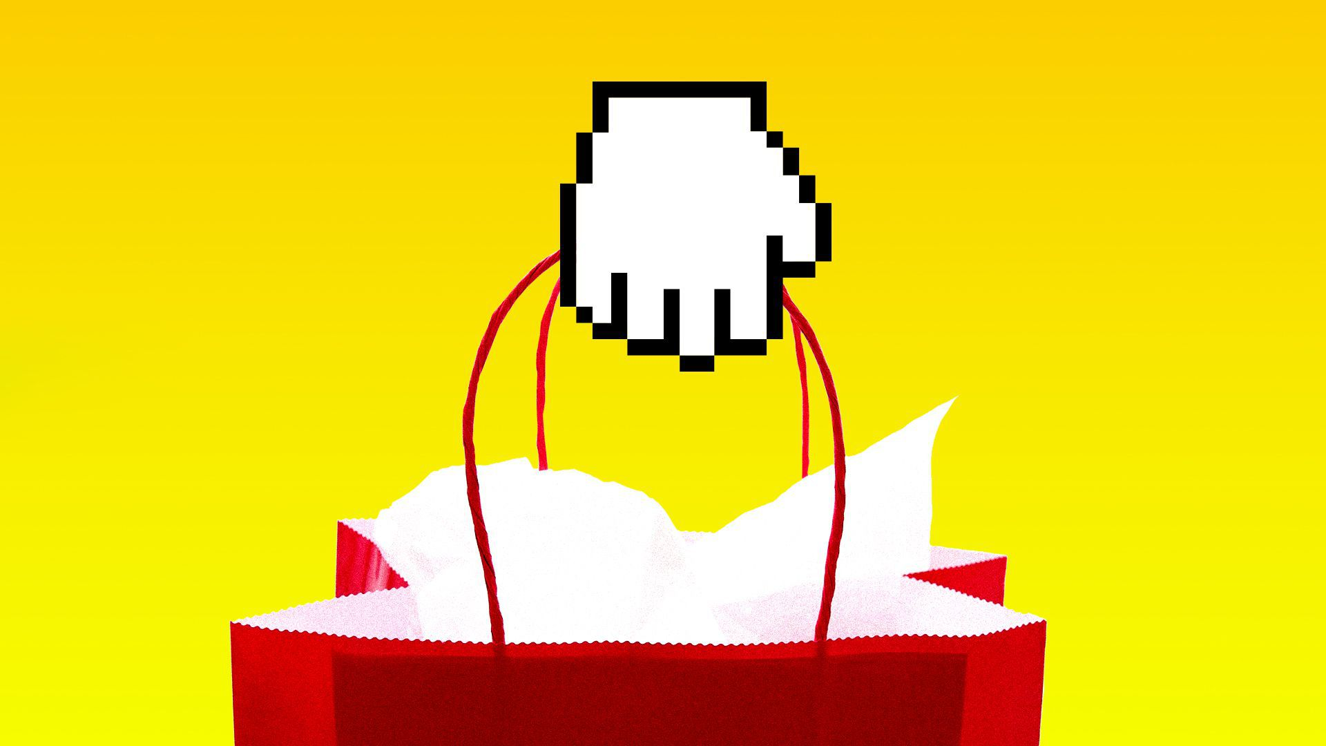 An illustration of a shopping bag with a hand icon, representing the intersection of digital and real-world commerce.